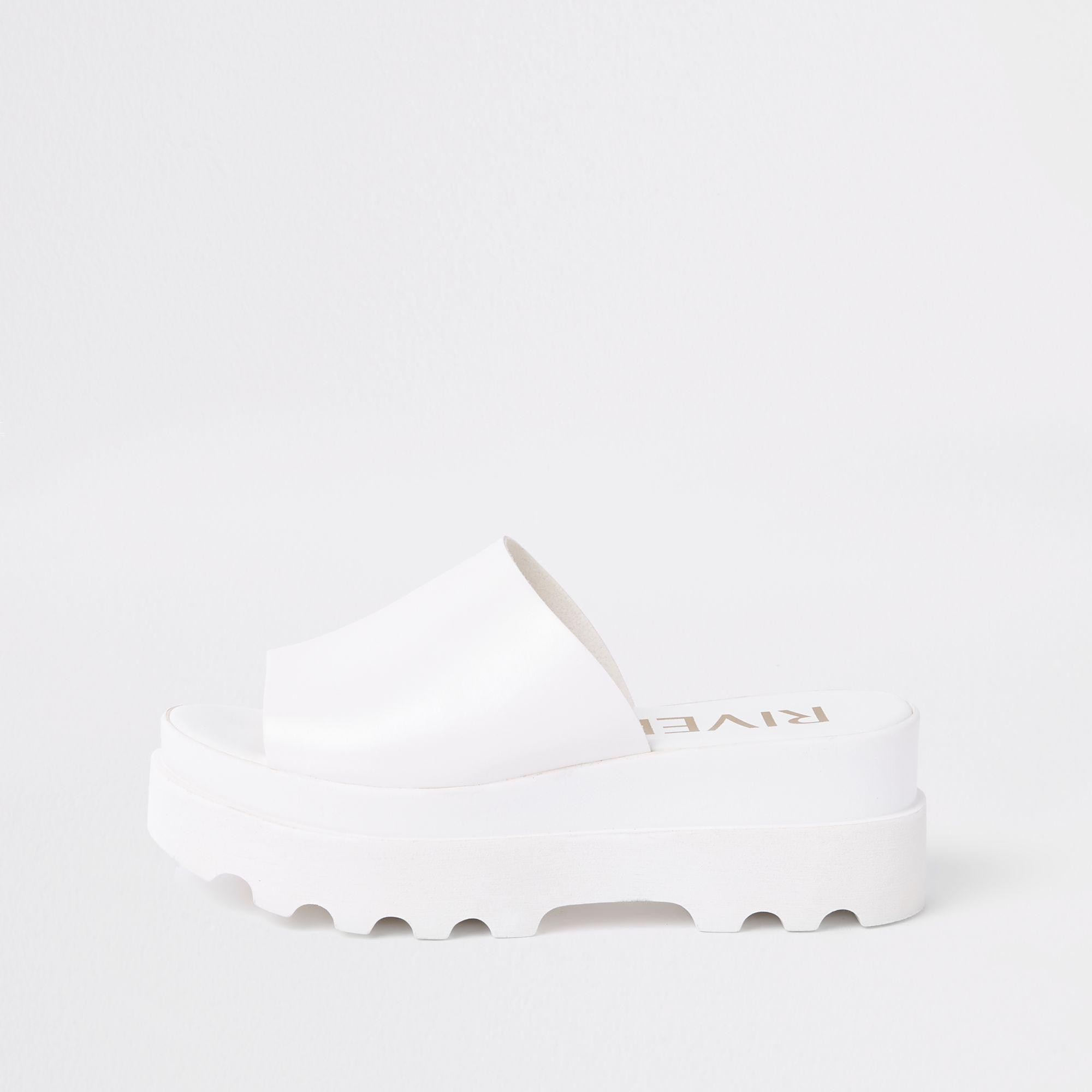 10af3105354 River Island White Chunky Slip On Sandals in White - Lyst
