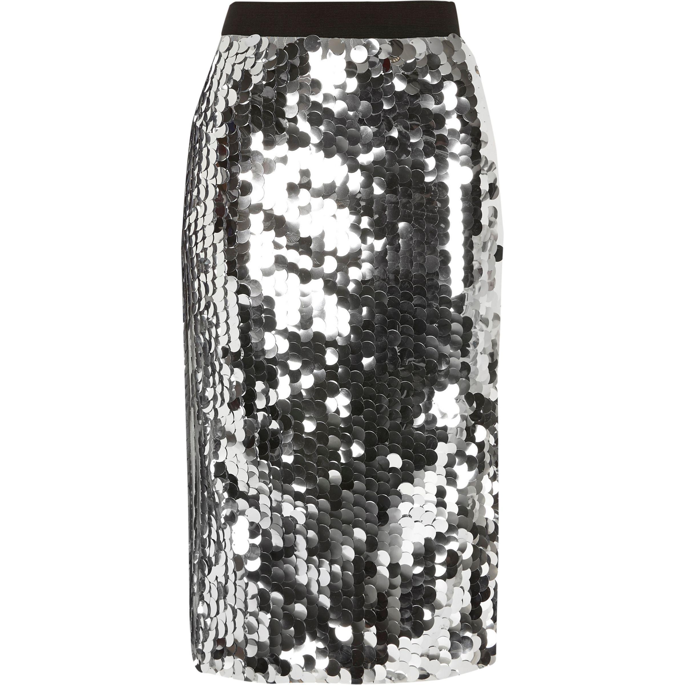 3700b95cc17f River Island Silver Sequin Midi Pencil Skirt in Metallic - Lyst