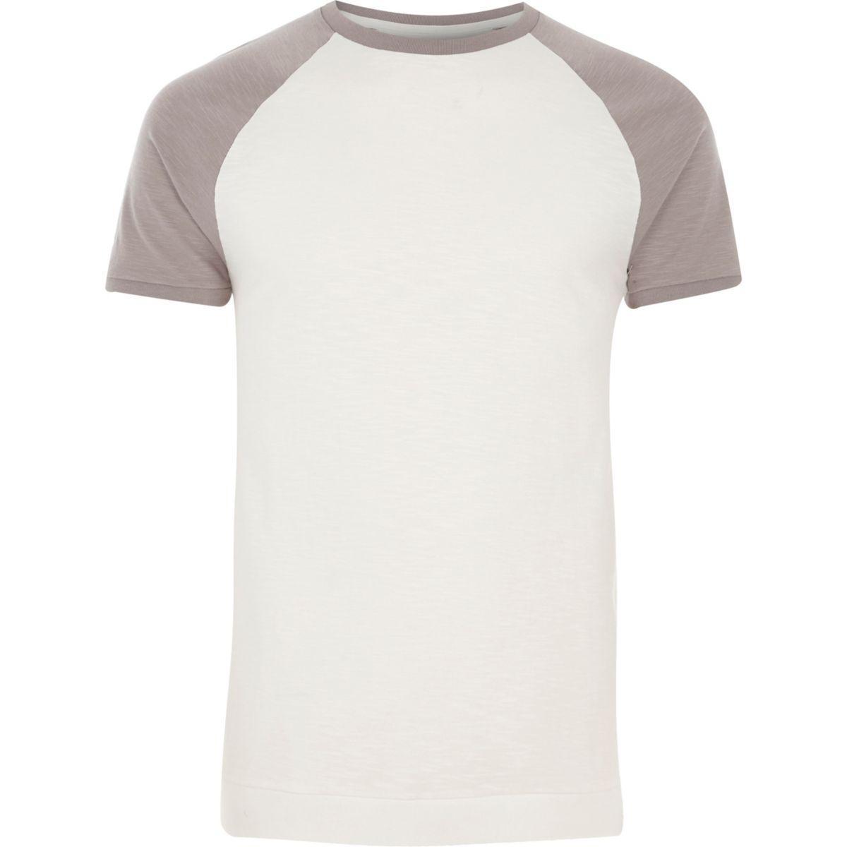 Lyst river island white contrast raglan sleeve slim fit for Slim fit white t shirt