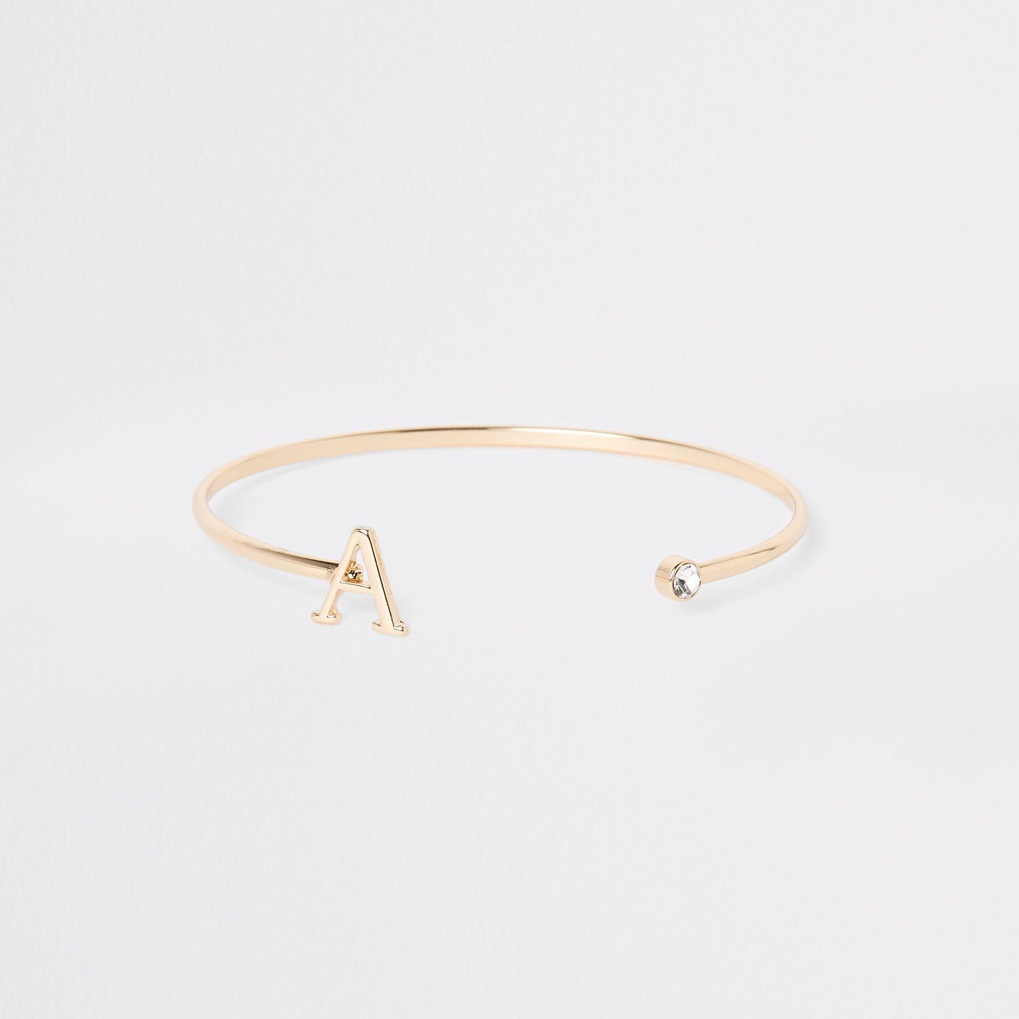 River Island Women S Metallic Plated A Initial Cuff Bracelet