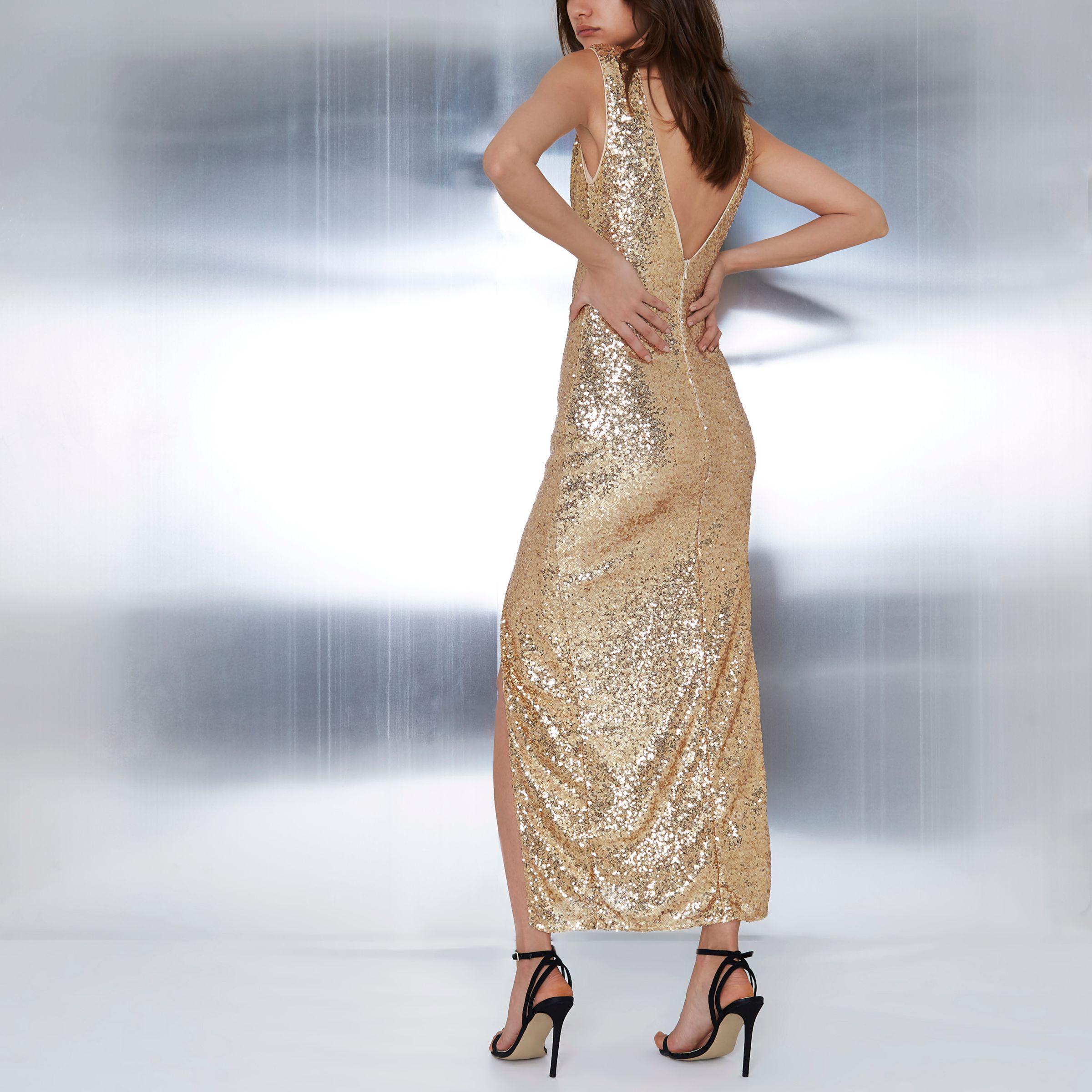 adb87db4 Lyst - River Island Gold Sequin Plunge Split Front Maxi Dress in ...