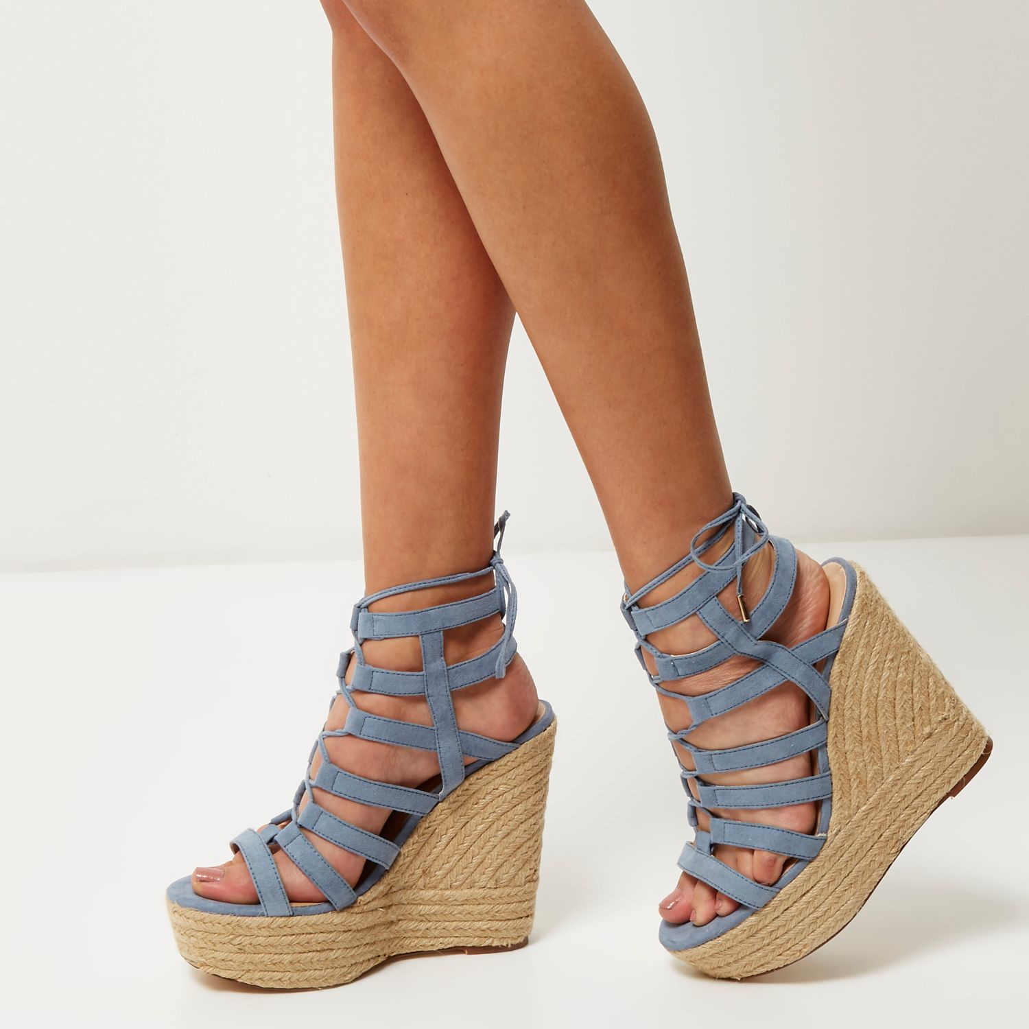 River Island Light Blue Suede Gladiator Wedges In Blue Lyst