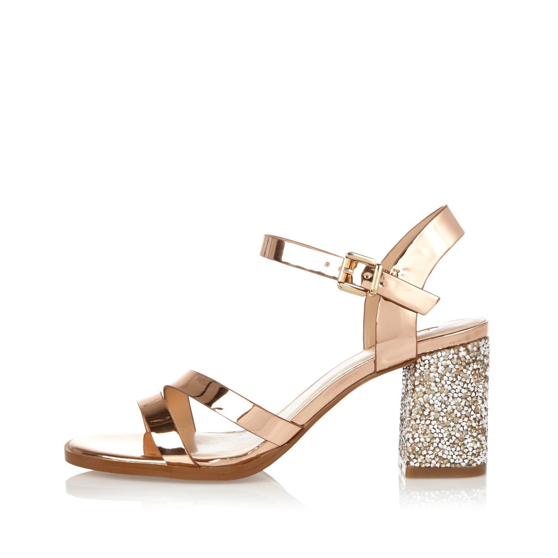9705fa610936 River Island Rose Gold Glitter Block Heel Sandals - Lyst