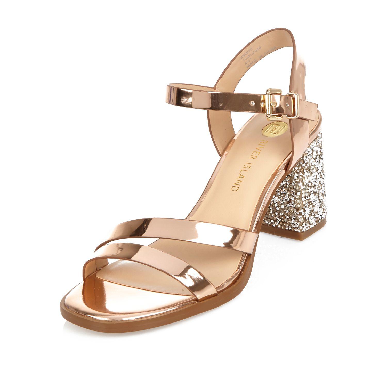e5ae625b0661 Lyst - River Island Rose Gold Glitter Block Heel Sandals in Metallic
