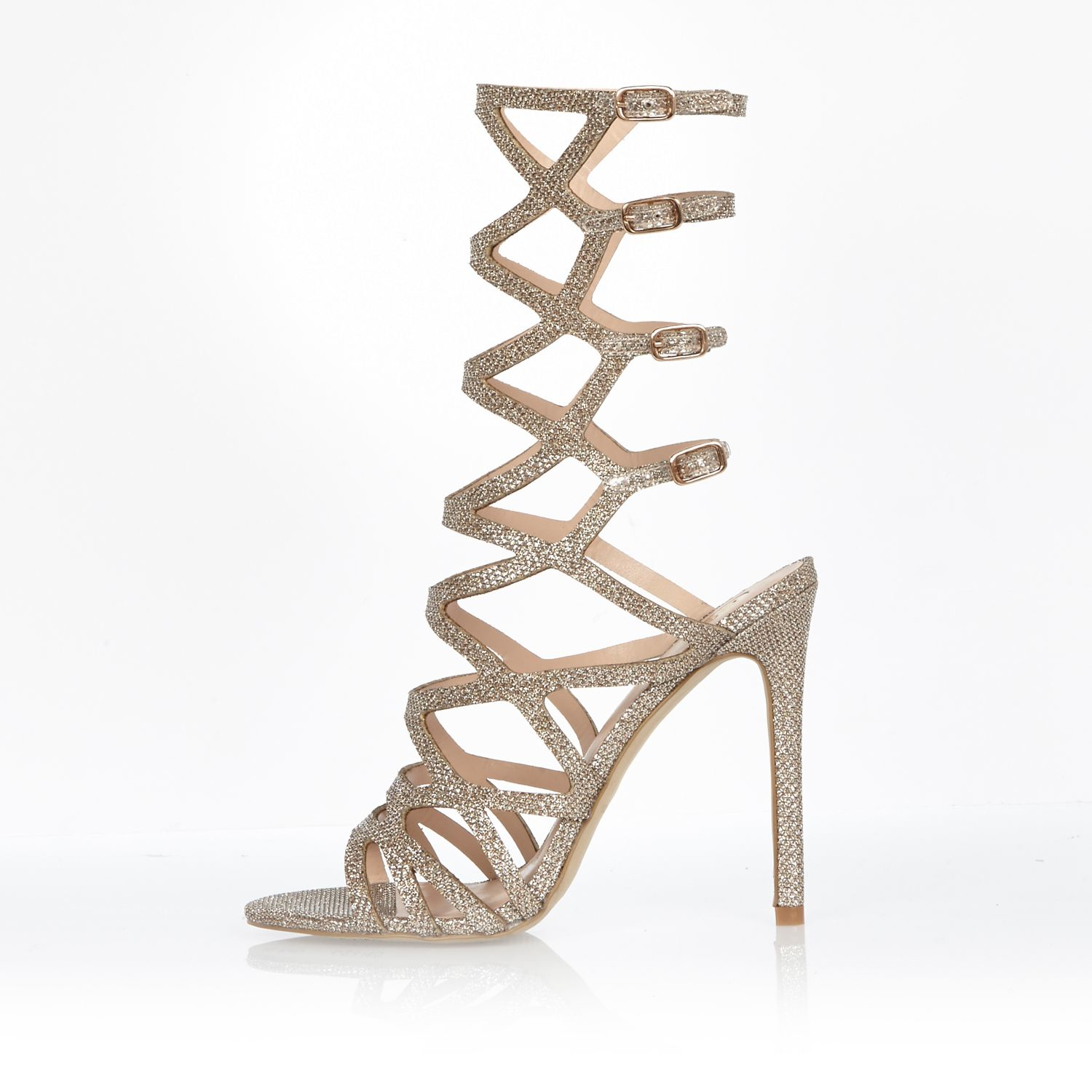 34f389575a13 River Island Metallic Gladiator Heel Sandals in Natural - Lyst