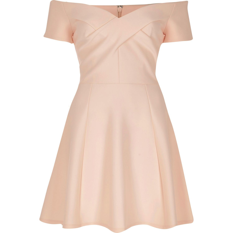 ddd29b45d567c River Island Light Pink Bardot Skater Dress in Natural - Lyst