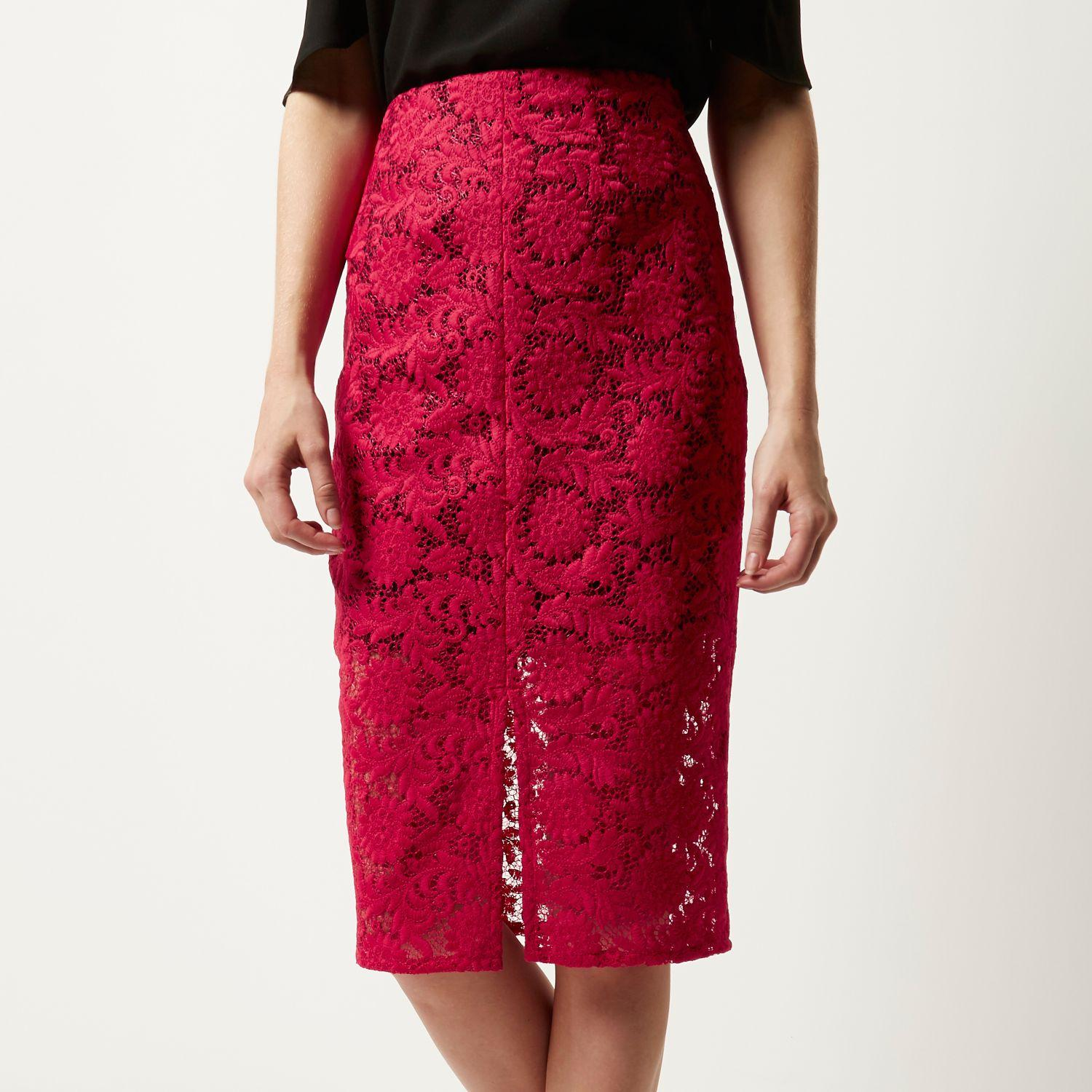 Lyst - River Island Pink Lace Pencil Skirt in Red