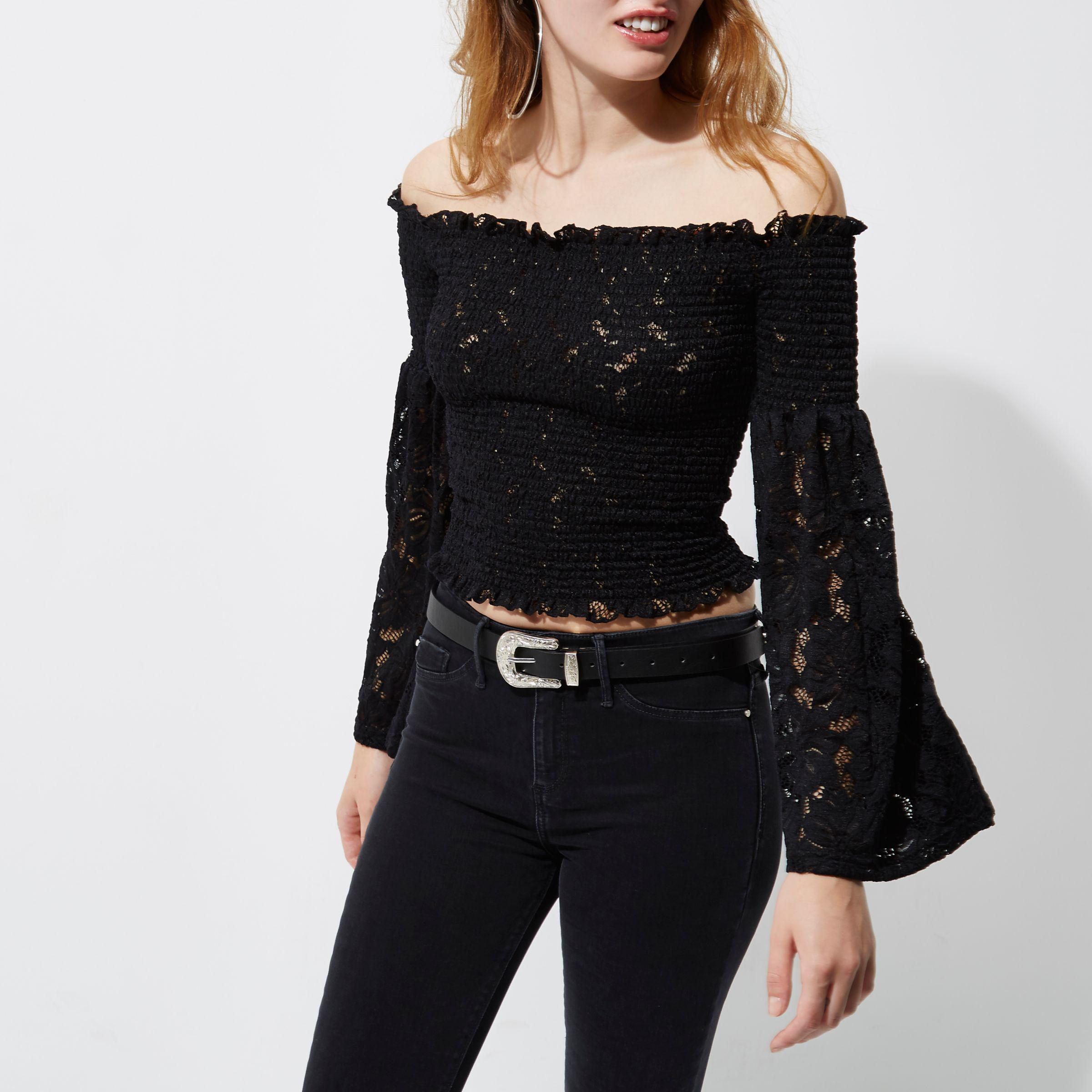 River Island Black Lace Bardot Bell Sleeve Crop Top Lyst