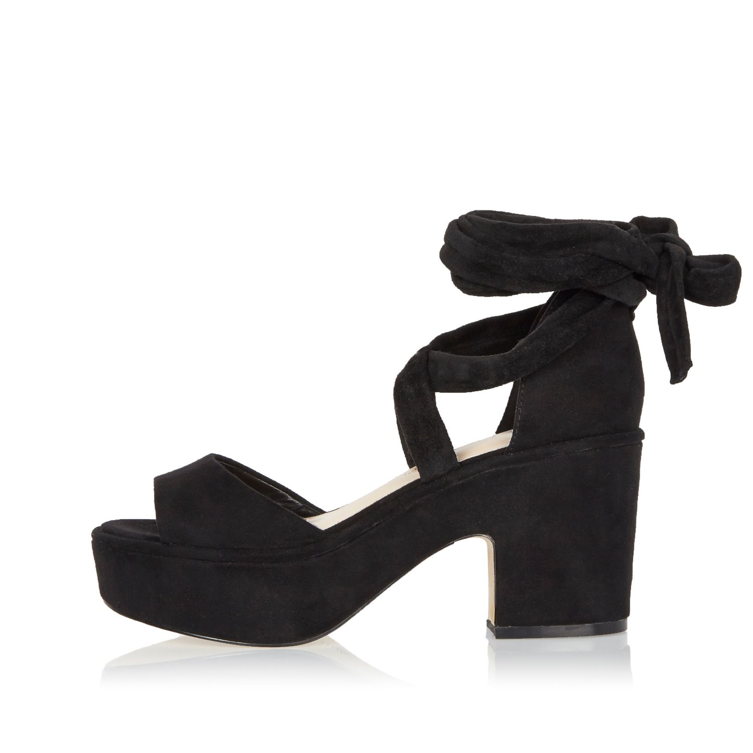 955459ec503 River Island Black Soft Tie-up Platform Block Heels in Black - Lyst