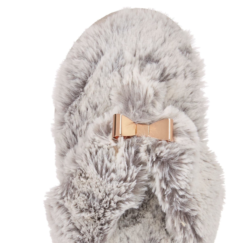 046c92e9ef5 Lyst - River Island Grey Faux Fur Bow Flip Flop Slippers in Gray
