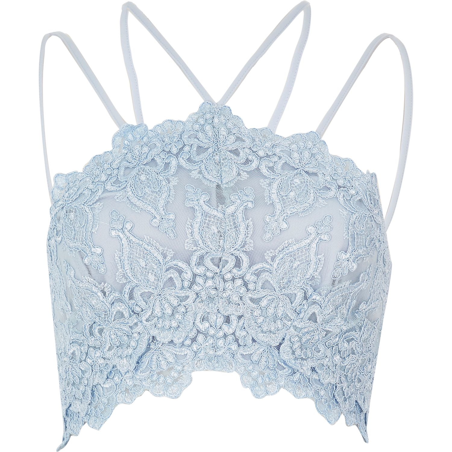 9395d61cd3902 River Island Light Blue Cornelli Bralet in Blue - Lyst
