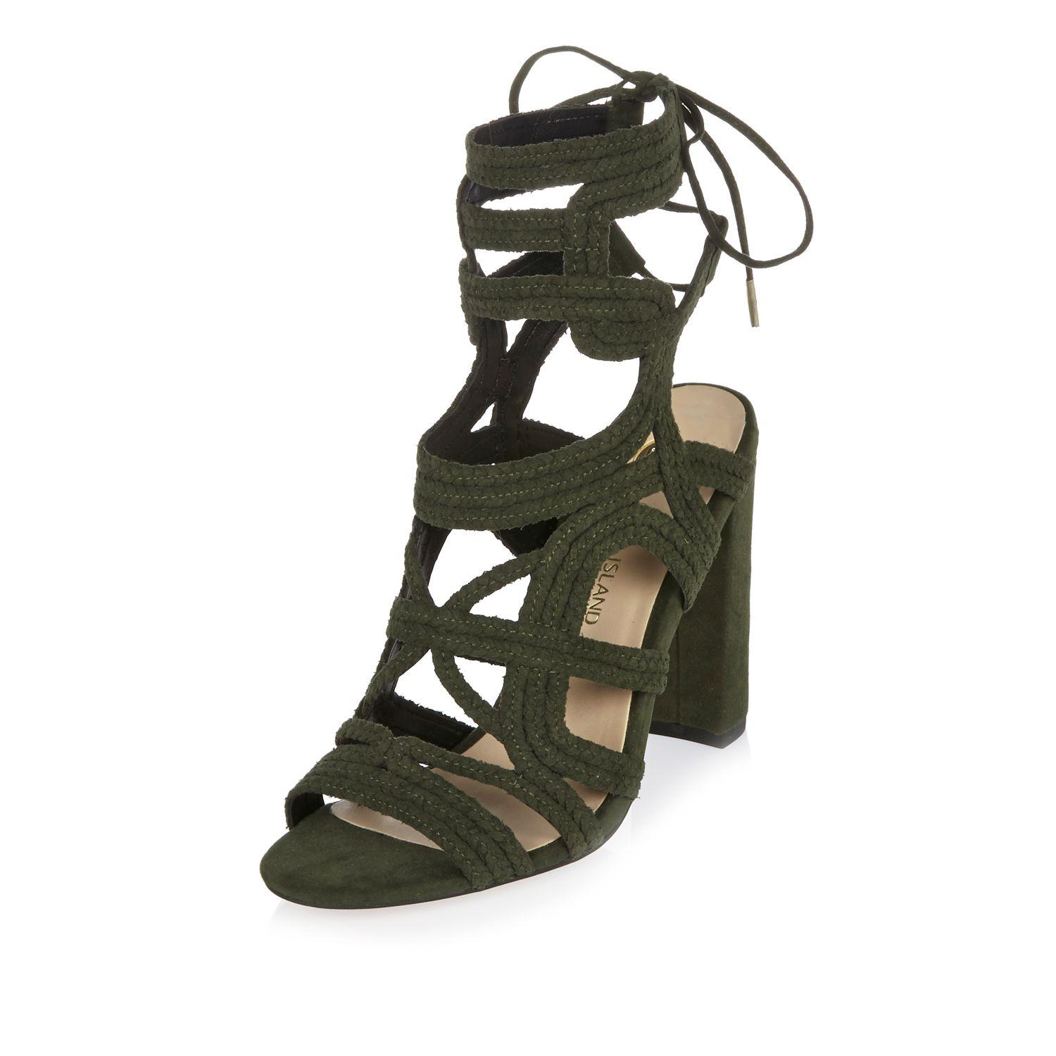 a1ed6977ea0 Lyst - River Island Khaki Braided Cage Heel Sandals in Natural