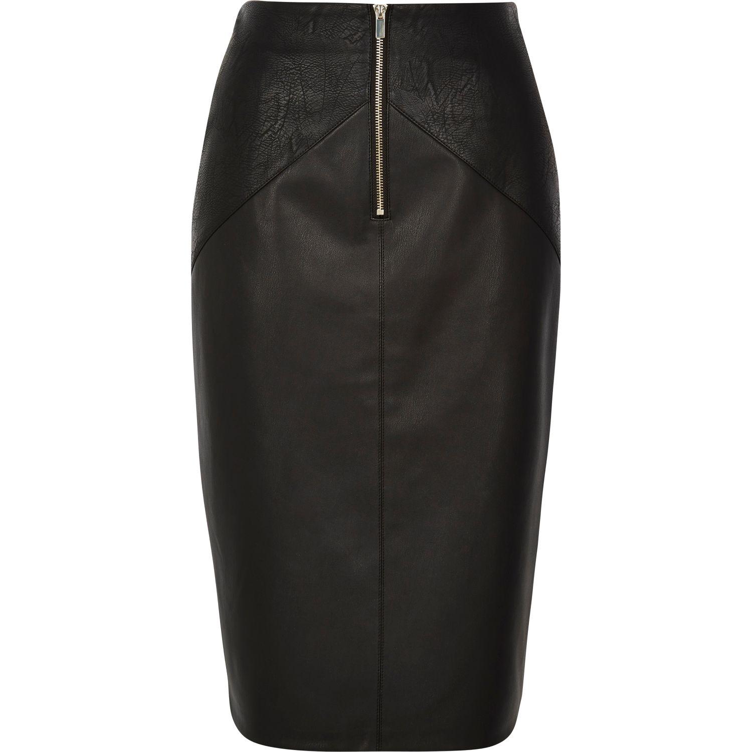 river island black exposed zip leather look pencil skirt