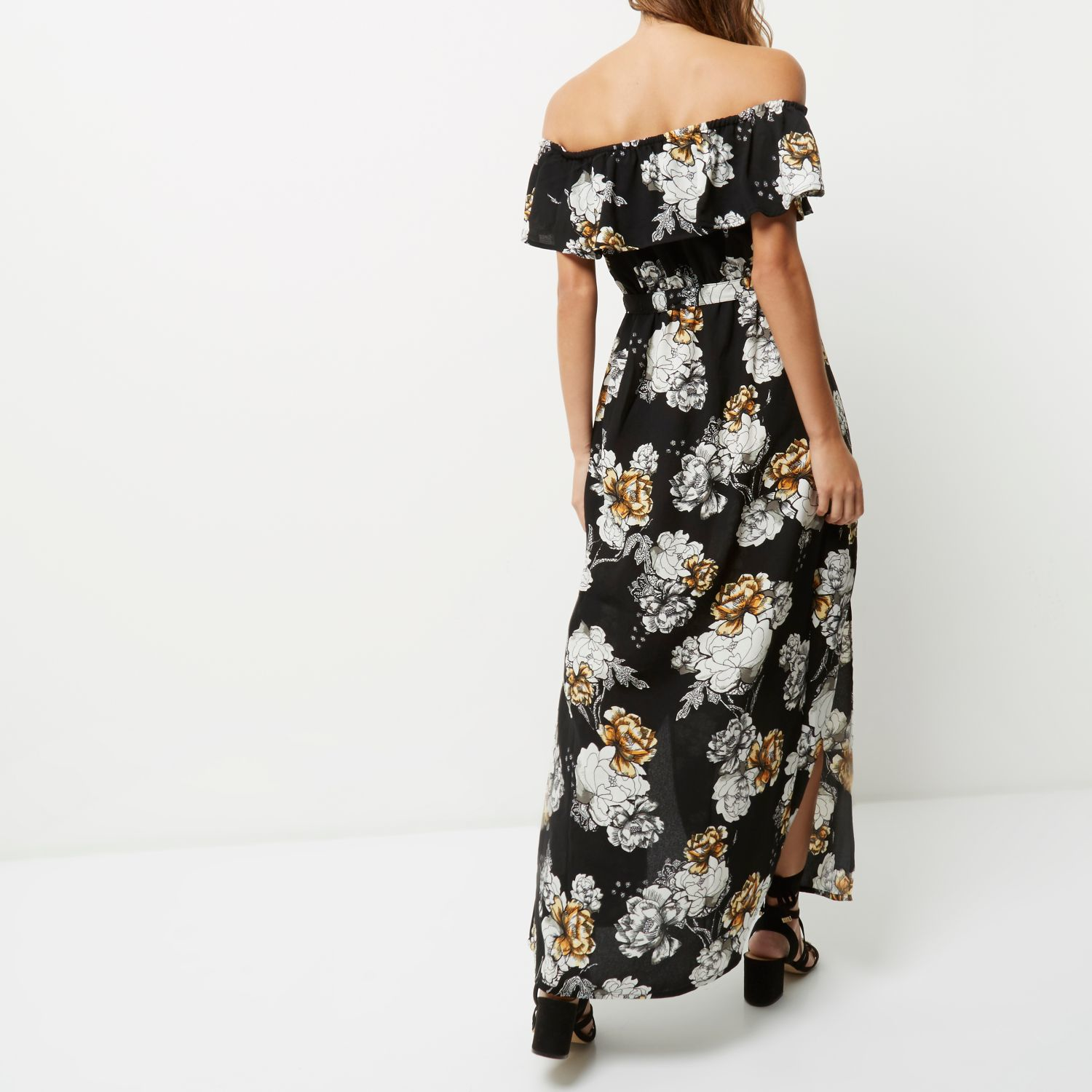 100% top quality cozy fresh various styles denmark river island black floral maxi dress 993ff a7616