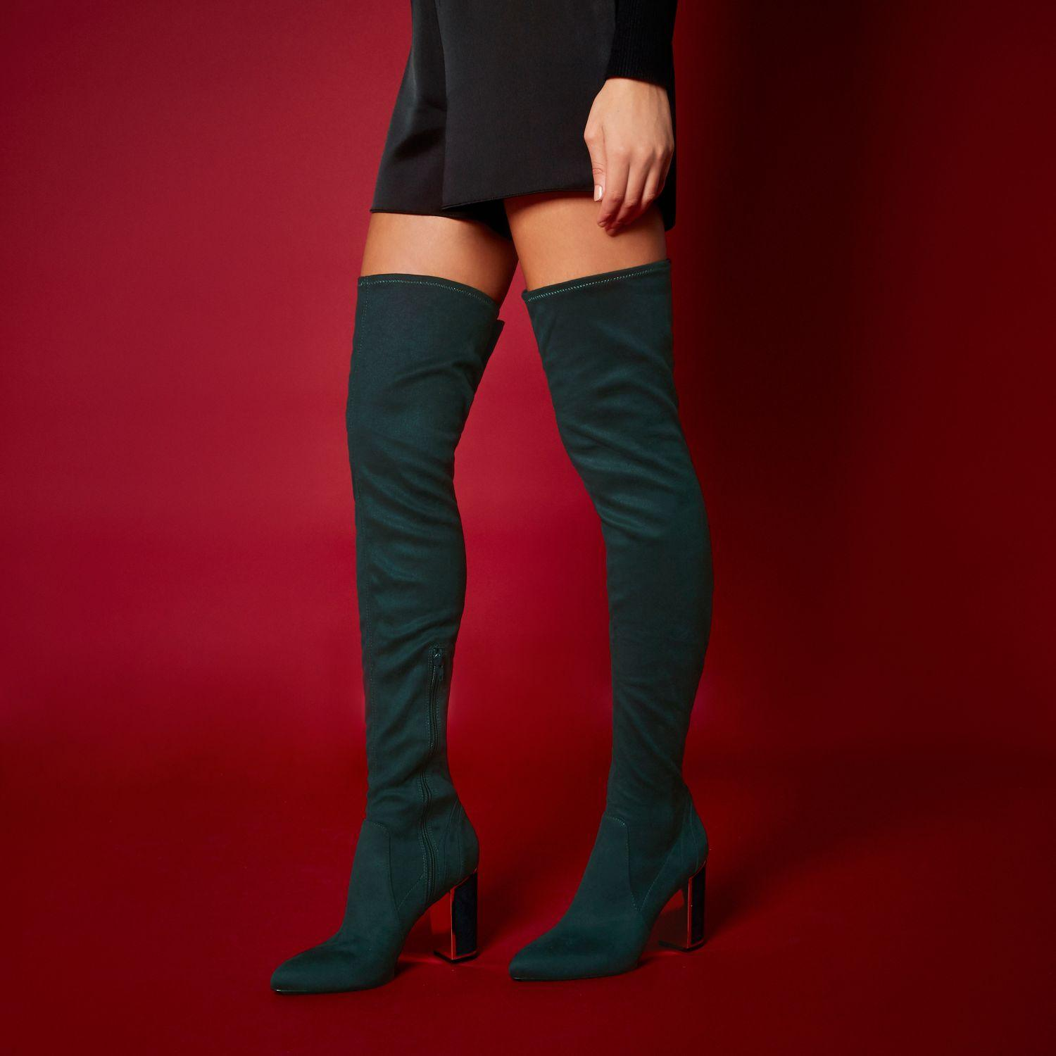 b745f419486 Lyst - River Island Ri Studio Dark Green Over The Knee Boots in Green