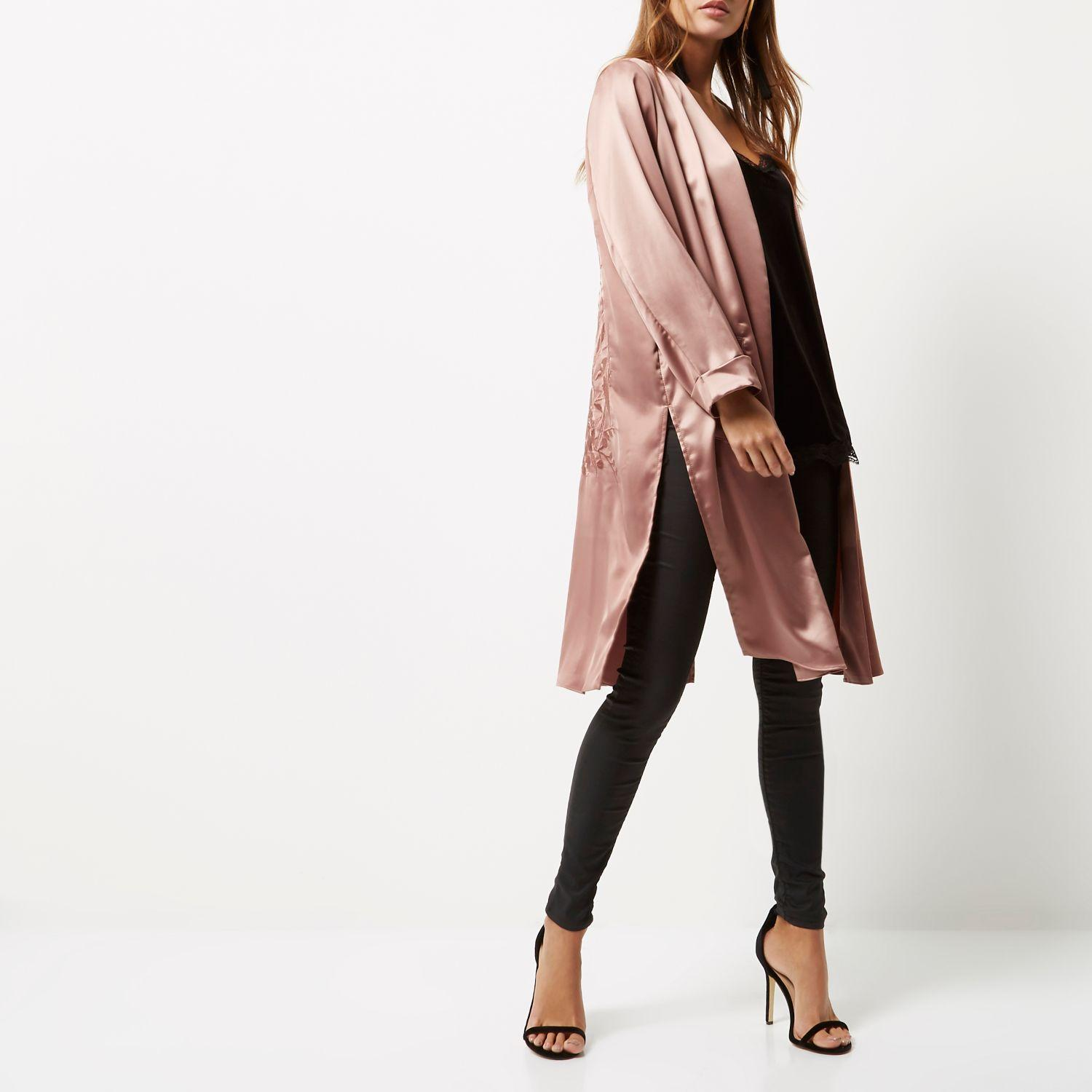 River Island Pink Embroidered Duster Jacket In Pink Lyst