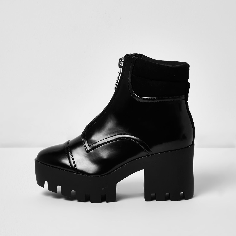 river island black patent chunky platform boots in black