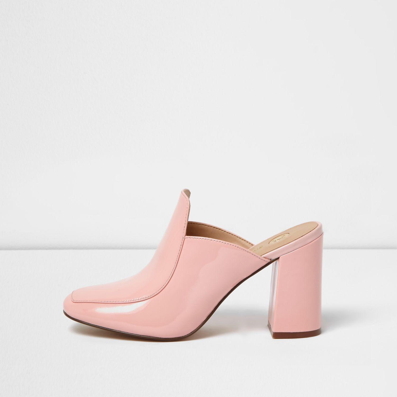 river island pink closed toe block heel mules in pink lyst