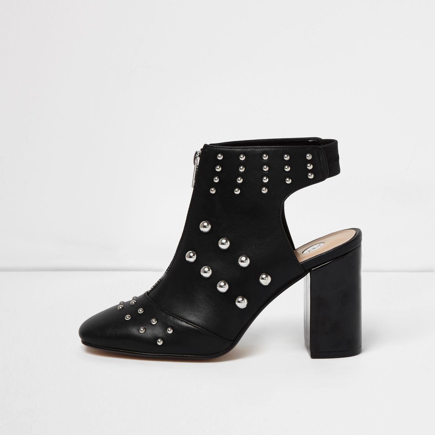 5c7a30f1902 Lyst - River Island Black Studded Shoe Boots in Black