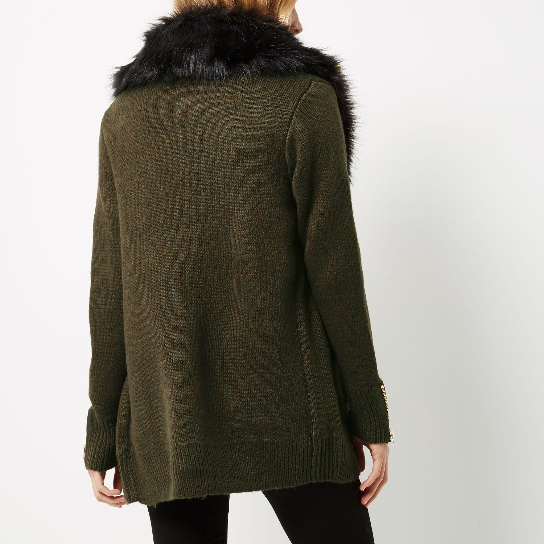 River Island Fur Collar Cardigan