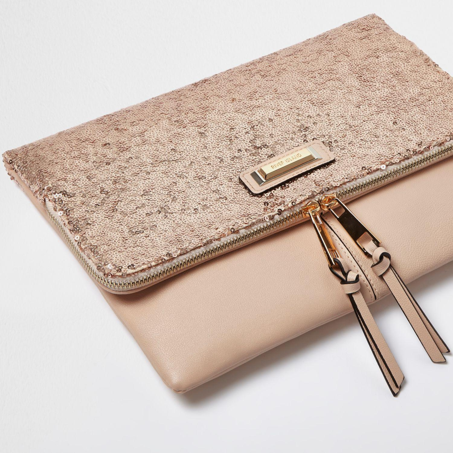 River Island Rose Gold Sequin Fold Over Clutch Bag Lyst