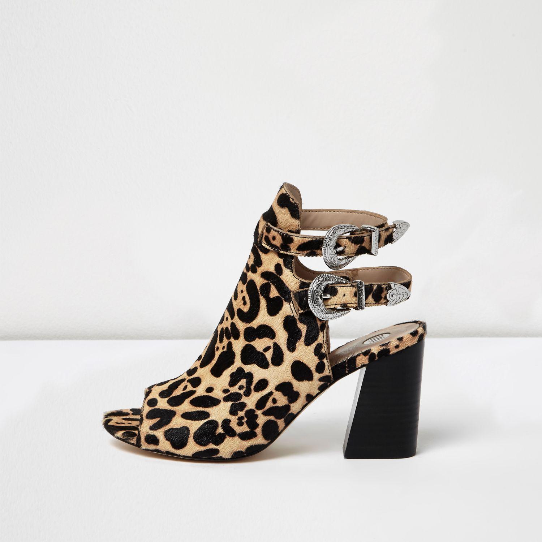 Leopard Block Heel Shoes