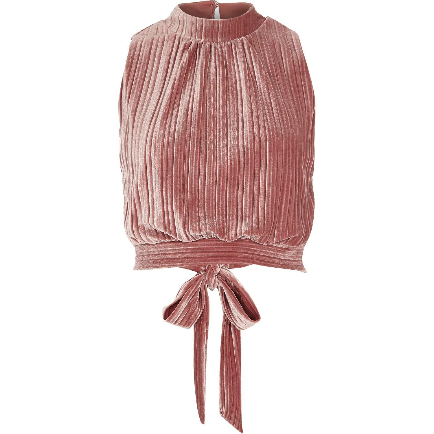 ca0b232f165481 River Island Pink Pleated Velvet Crop Top in Pink - Lyst