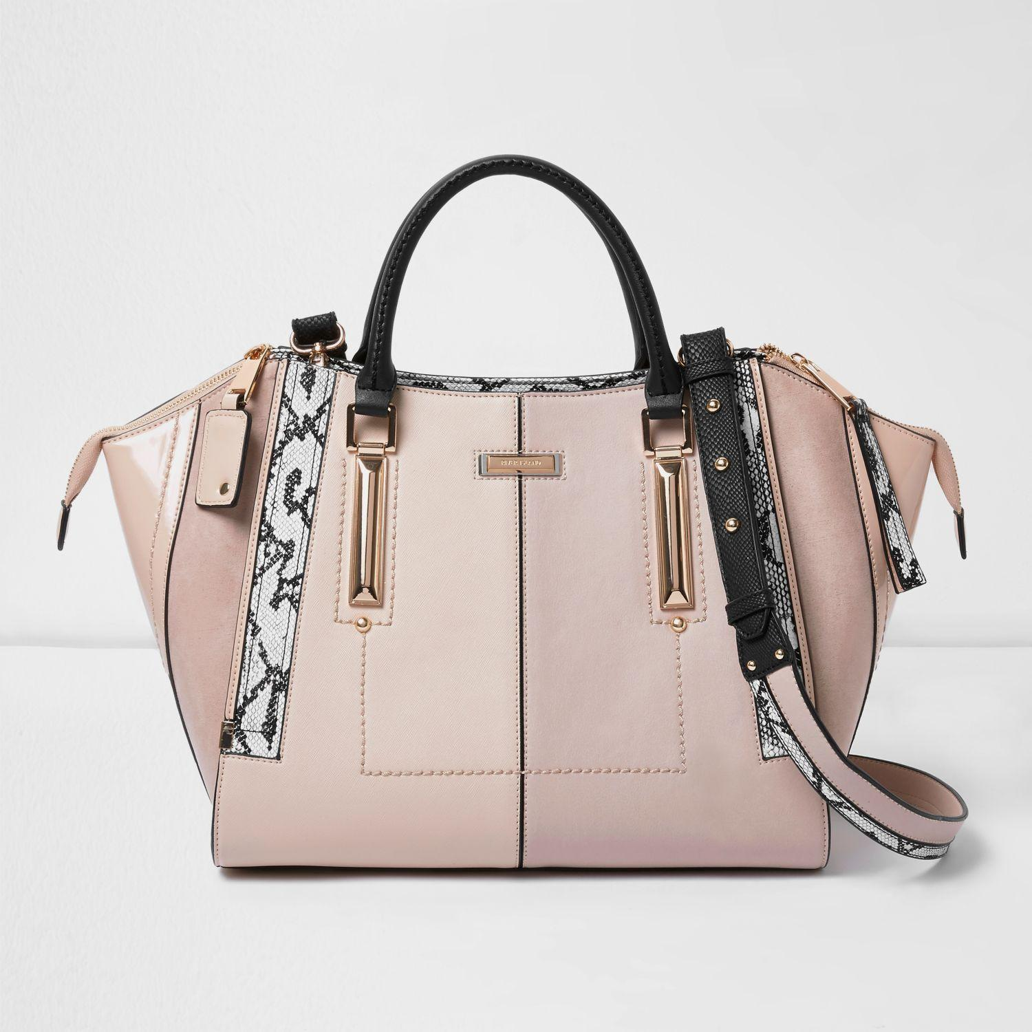 bc46e38168 Lyst - River Island Light Pink Dipped Top Winged Tote Bag in Pink
