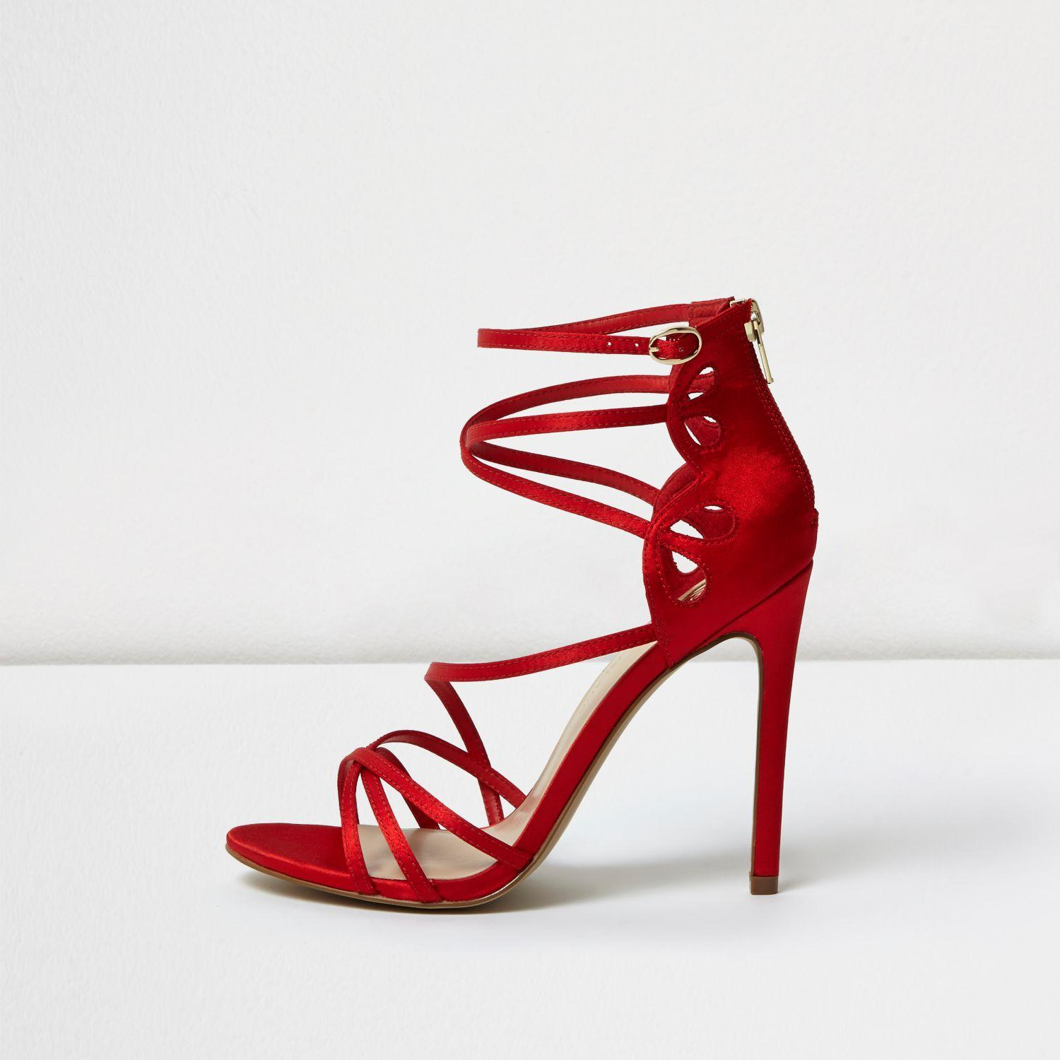 363148d8b96a Lyst - River Island Red Satin Finish Caged Sandals in Red
