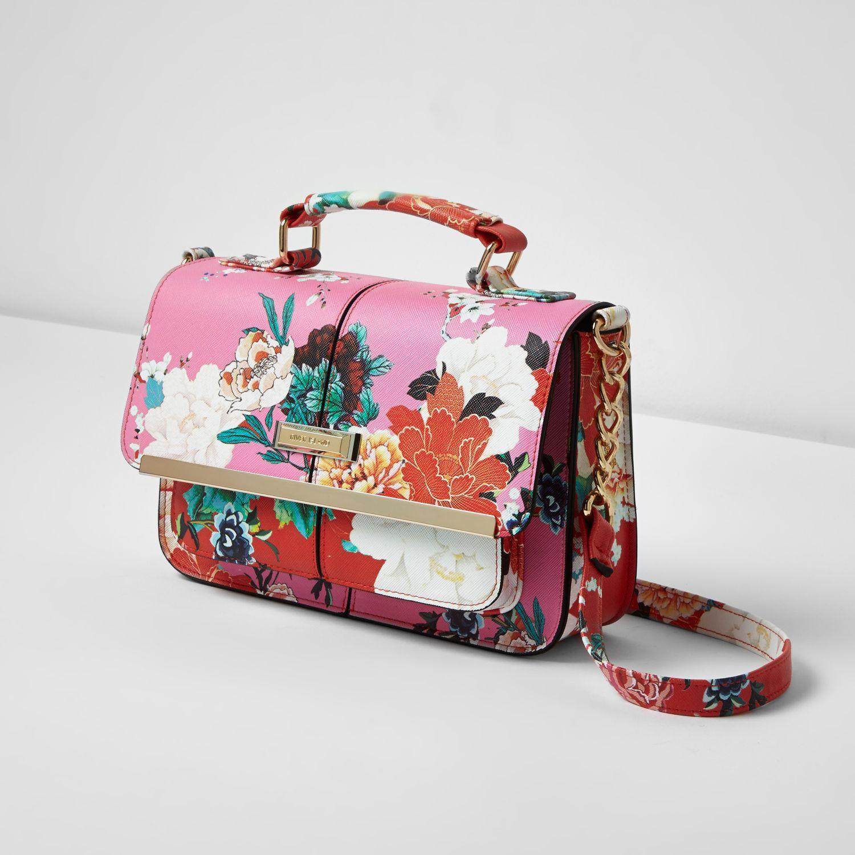 Lyst - River Island Pink Floral Print Mini Satchel Bag In Pink