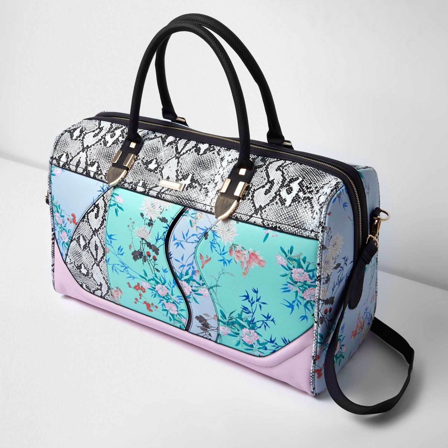 Lyst - River Island Blue Floral And Snake Print Weekend Bag In Blue