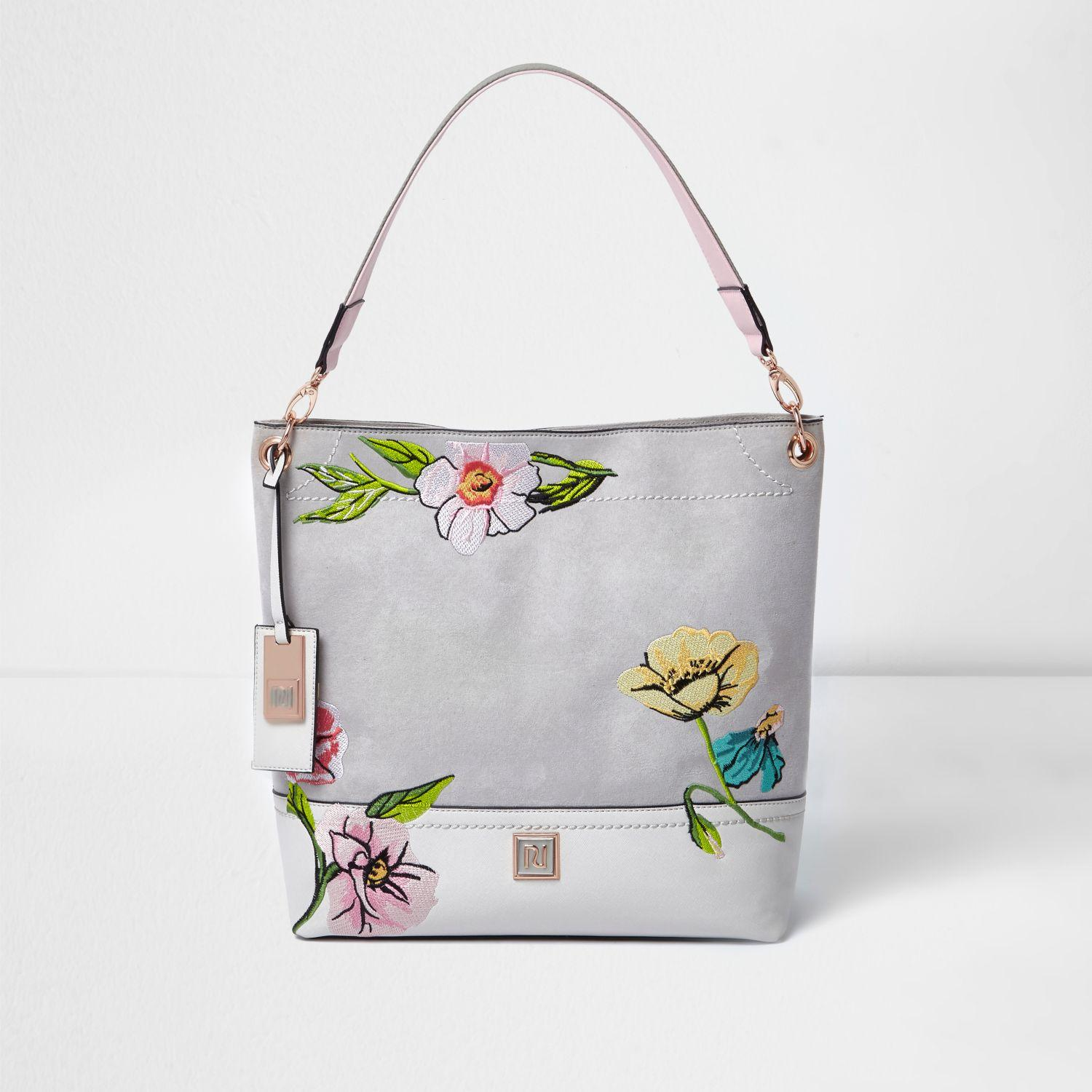 River Island Grey Floral Embroidered Slouch Bag In Gray | Lyst
