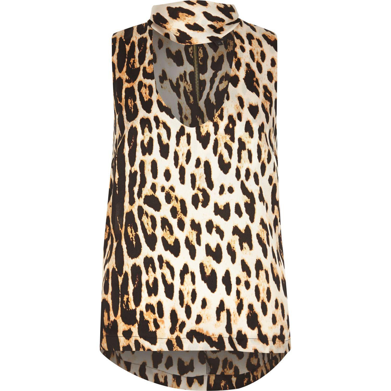 a6c46f5718f River Island Brown Leopard Print Choker Top in Brown - Lyst