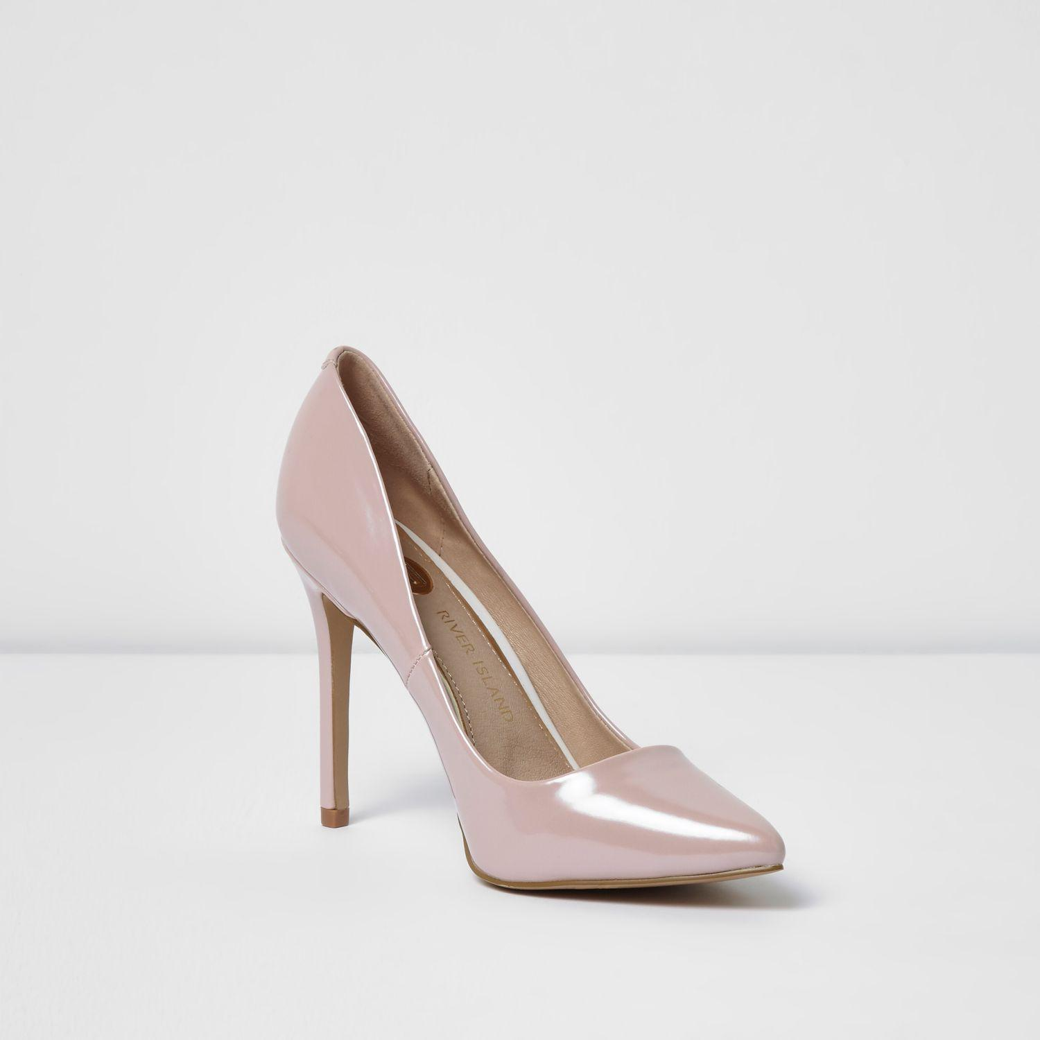 river island light pink patent court shoes in pink lyst