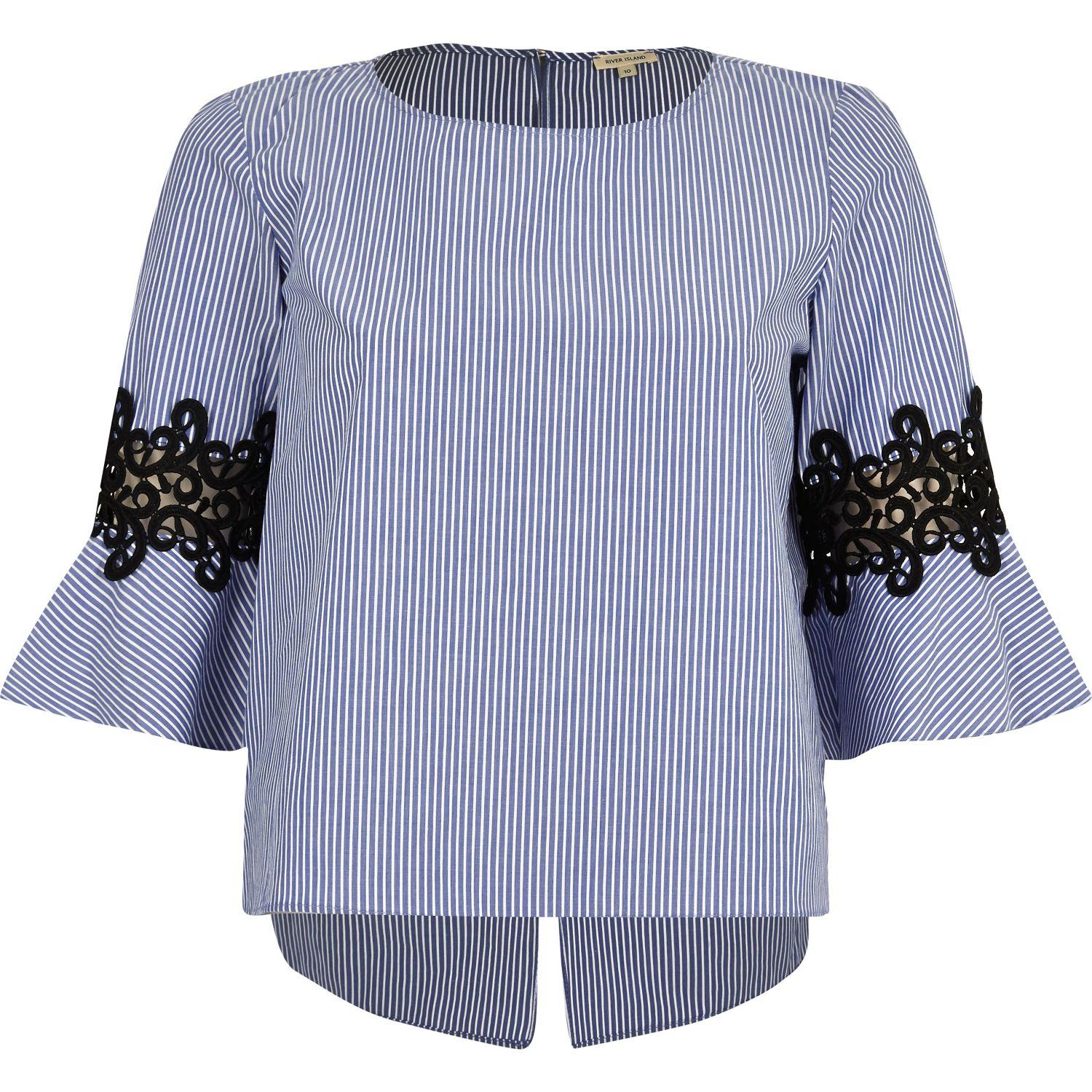 de483bb0c63a3a River Island Petite Blue Stripe Crochet Bell Sleeve Top in Blue - Lyst