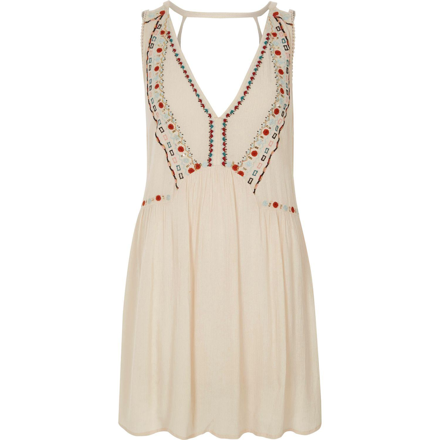 Lyst river island cream v neck embroidered beach dress