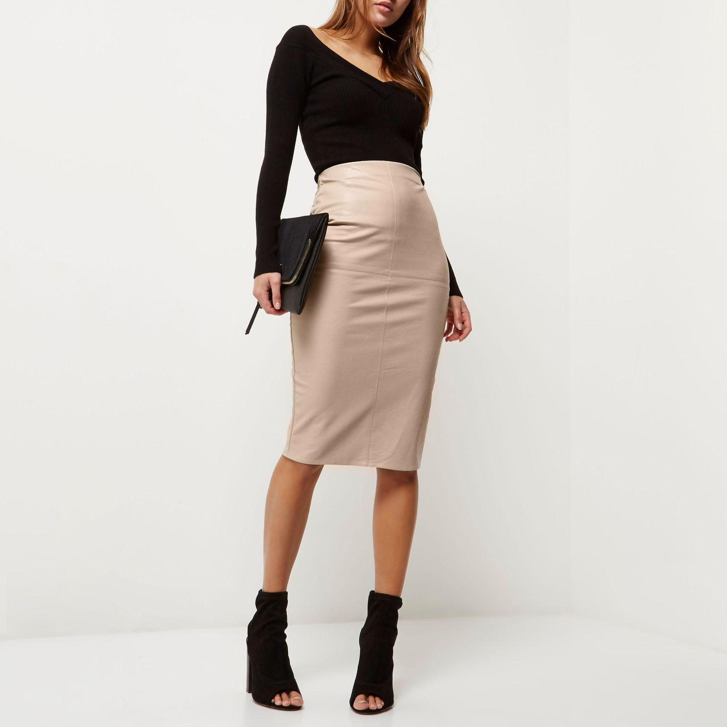 river island faux leather pencil skirt in pink lyst