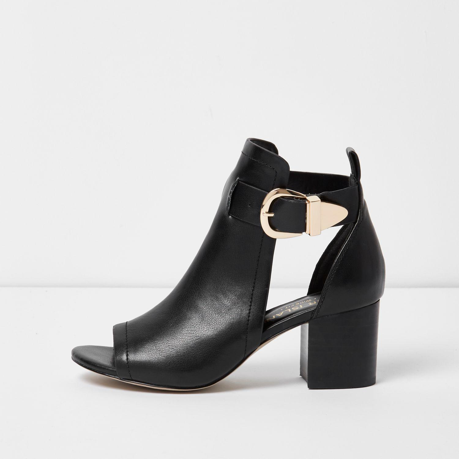 river island black buckle wide fit shoe boot in black lyst