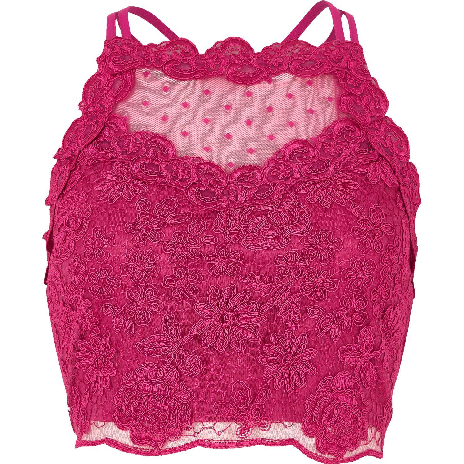 Lyst - River Island Pink Lace Mesh Crop Top in Pink