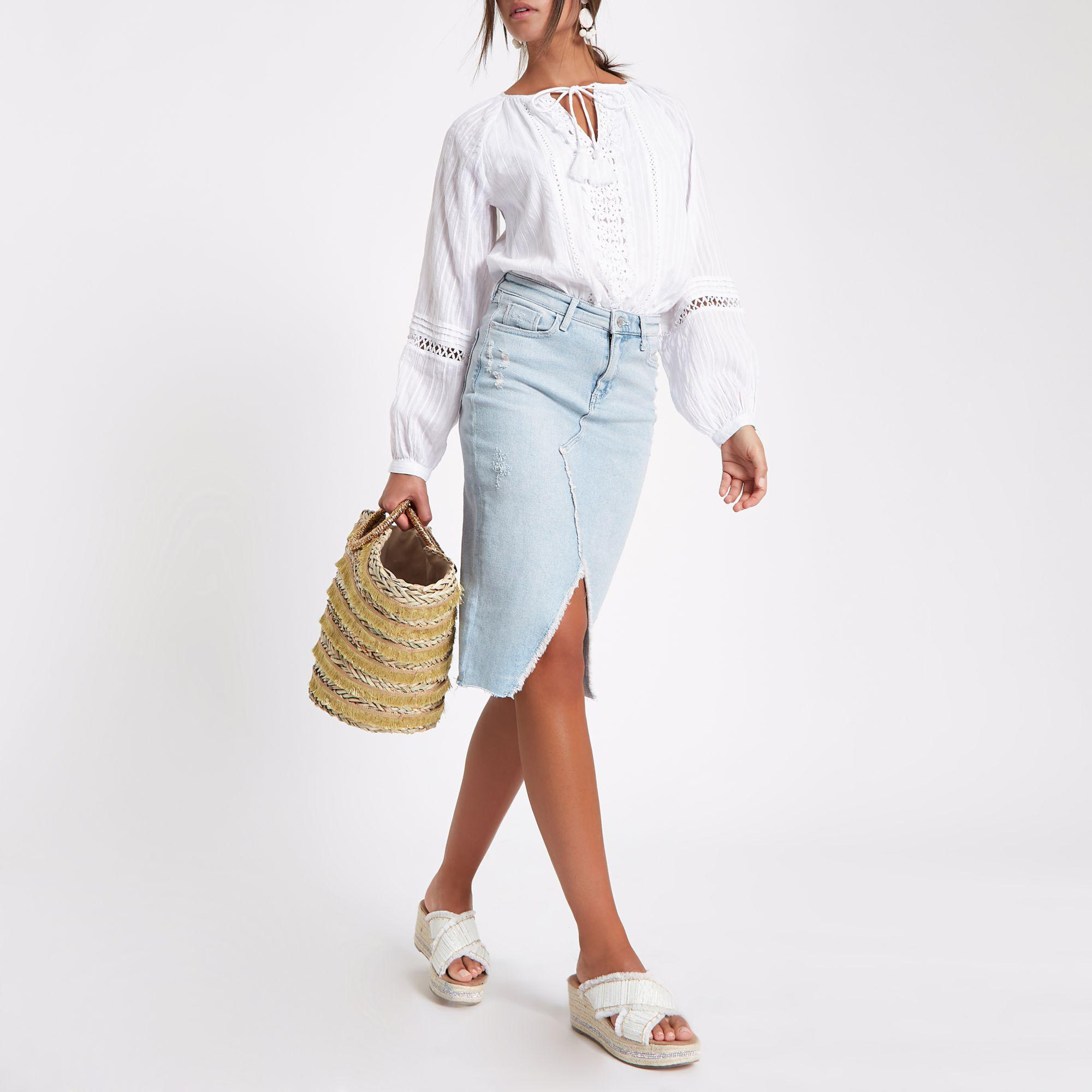 d042057a3f Amazon.com: pencil skirt light blue: Clothing, Shoes & Jewelry