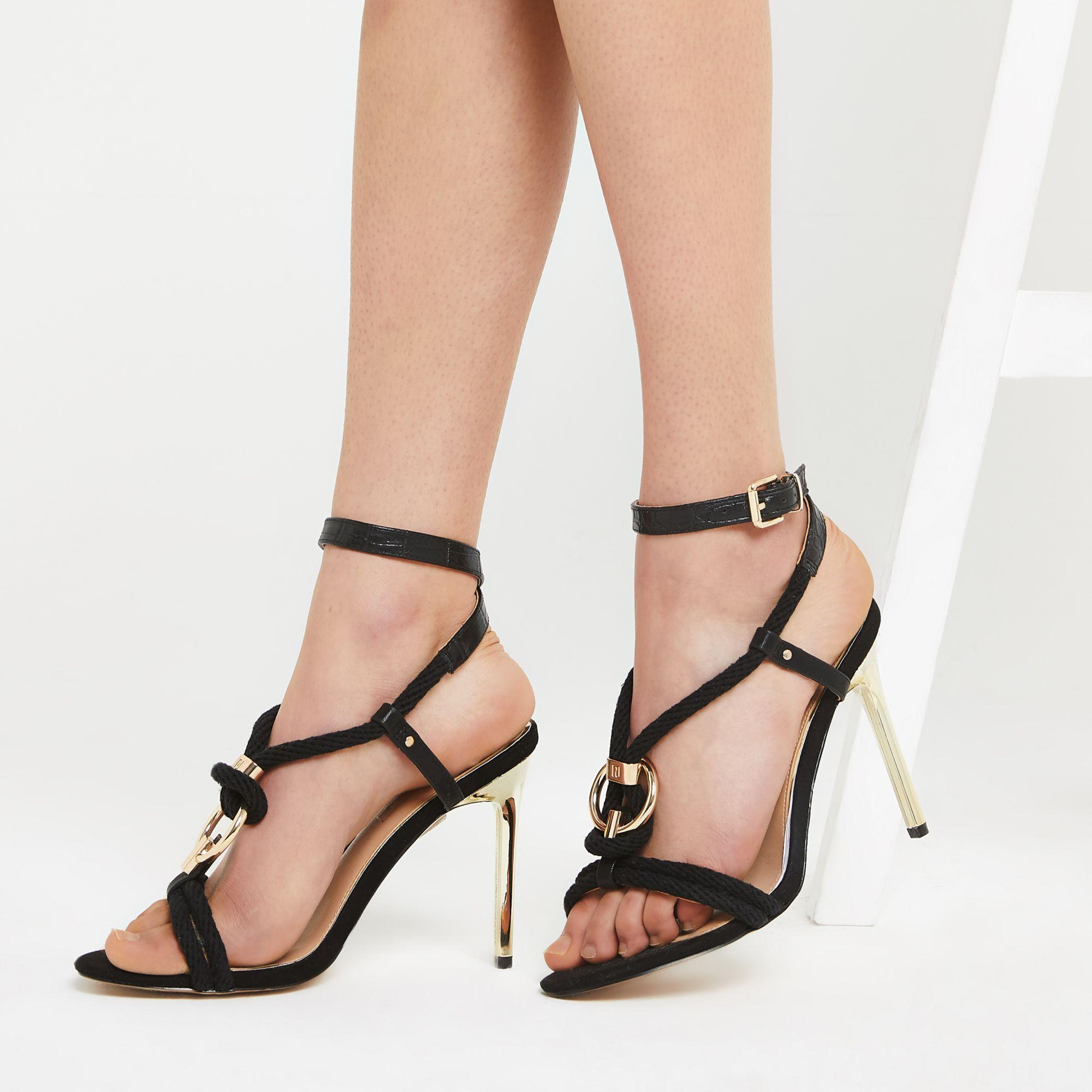 15b2571dca2 ... Black Rope Ring Stiletto Heel Sandals - Lyst. View fullscreen