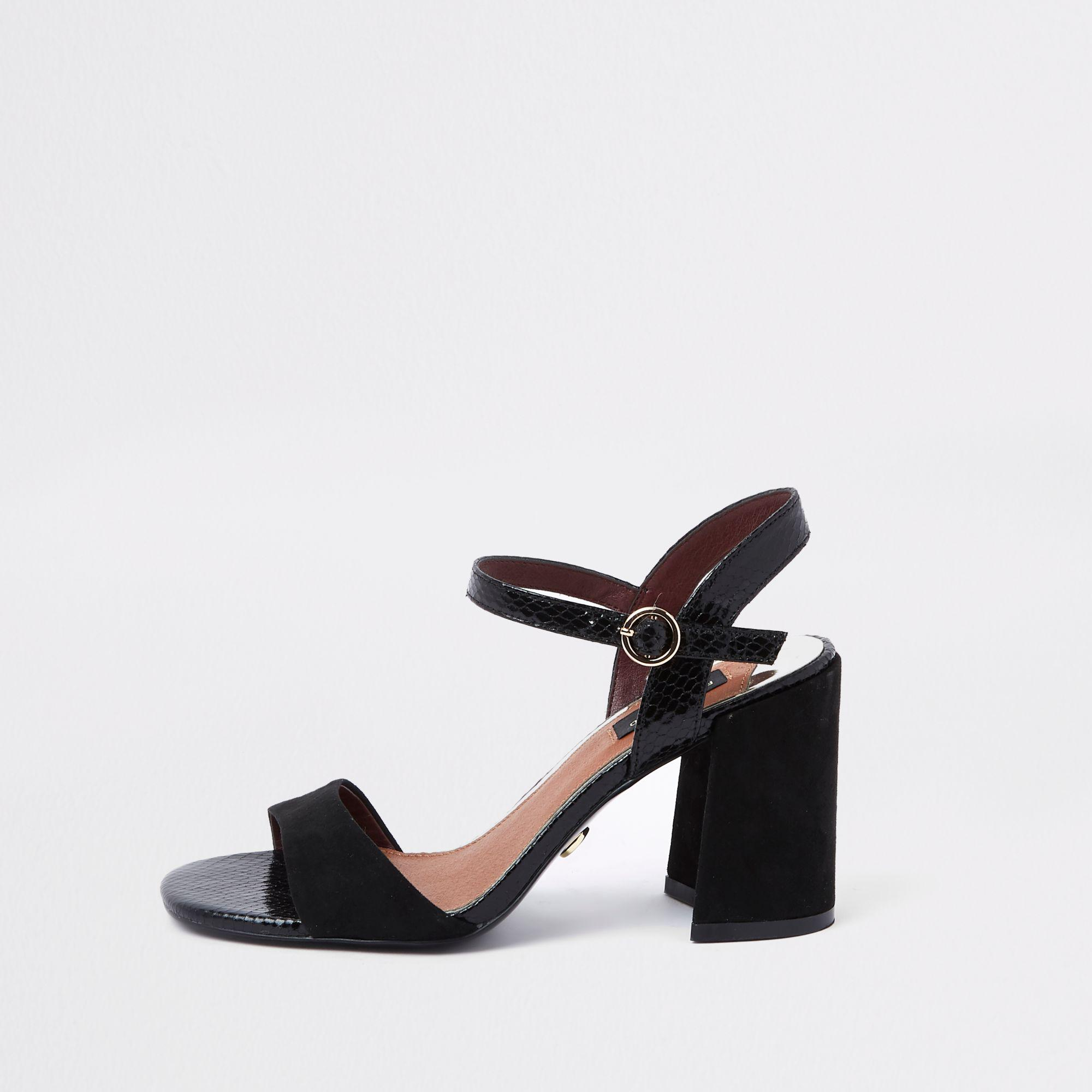 6a17f21aa97 River Island Croc Wide Fit Block Heel Sandals in Black - Lyst