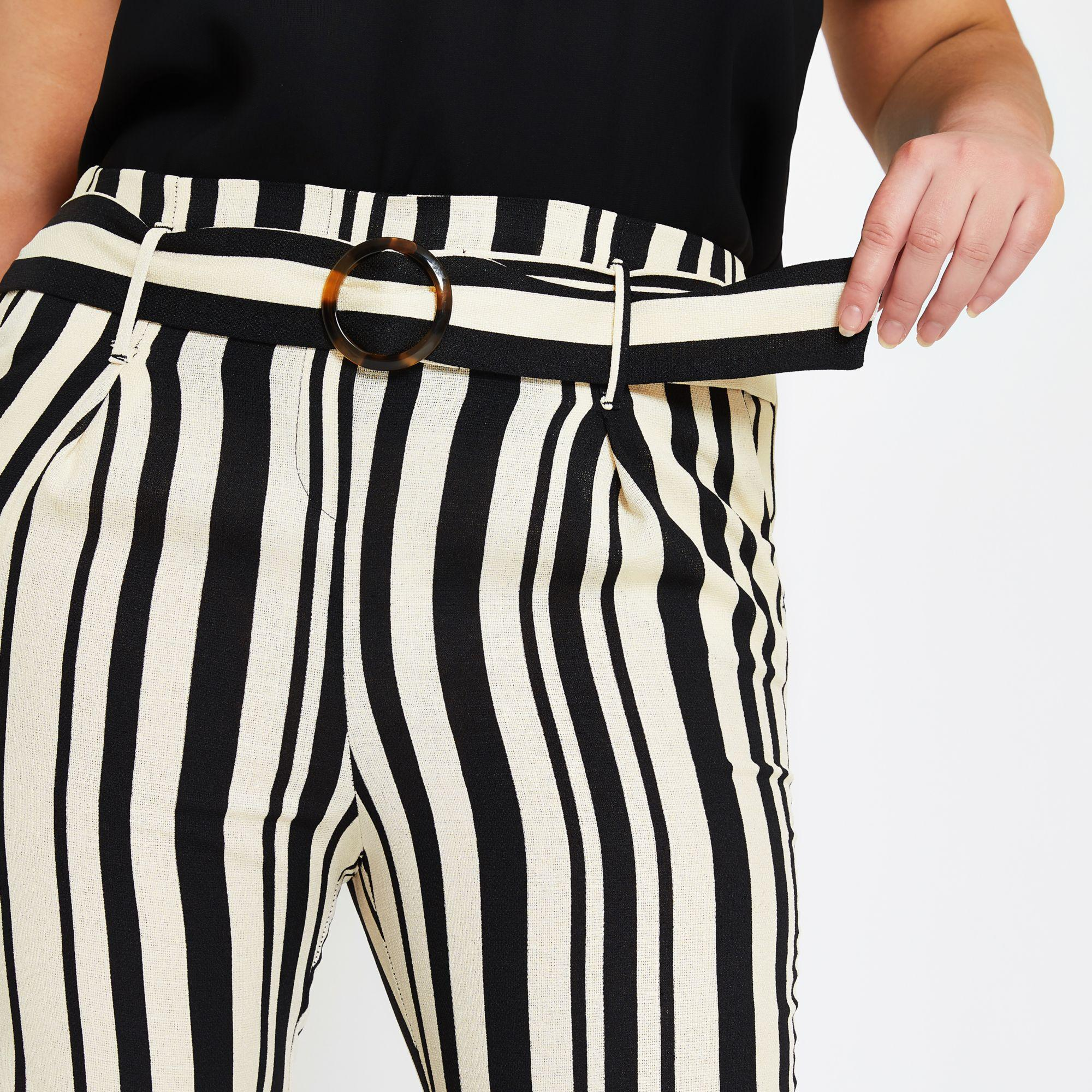 145f7e49fd0bd River Island - Plus Black Stripe Tie Waist Tapered Trousers - Lyst. View  fullscreen