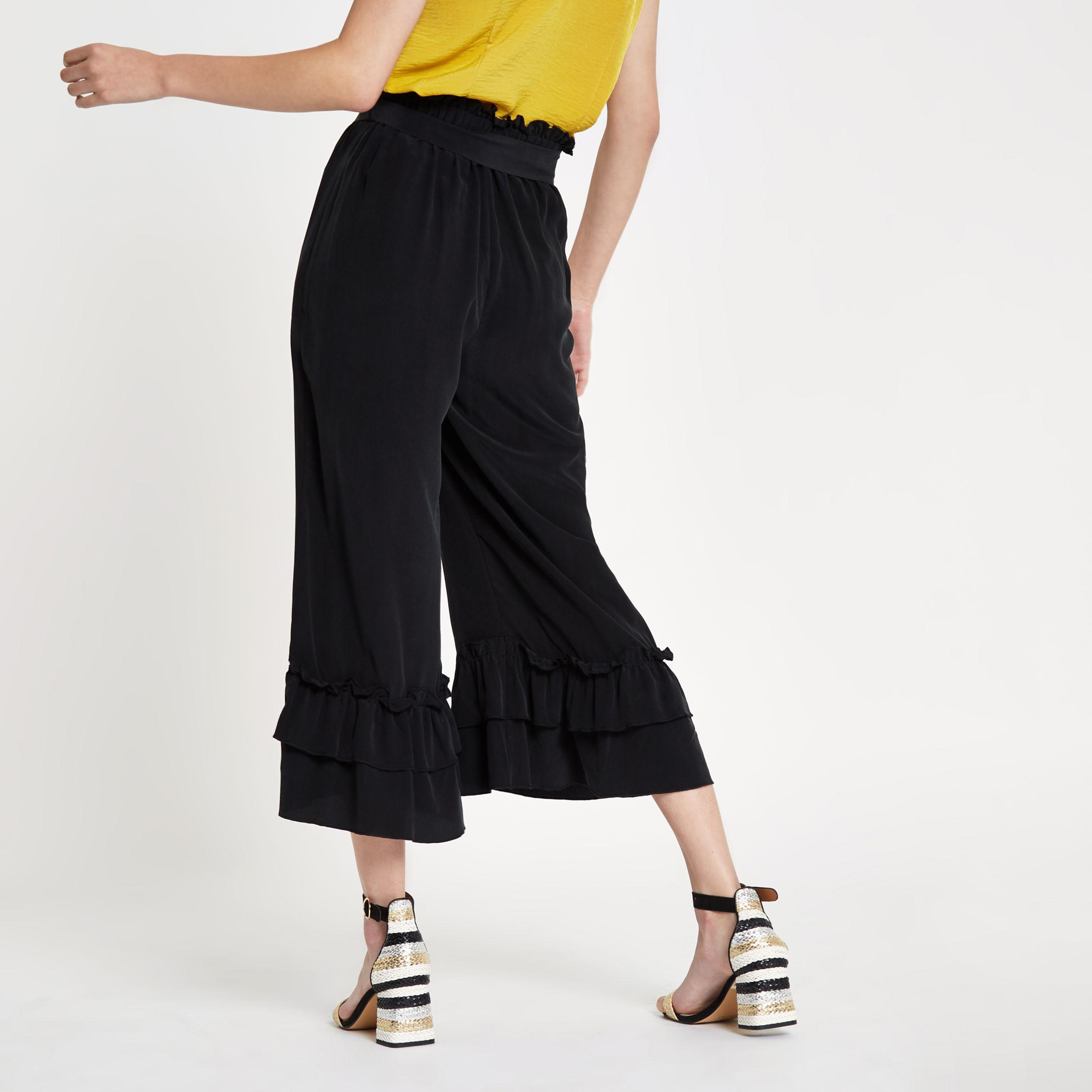 Outlet Cheapest Womens Black silk tiered frill tie waist culottes River Island Cheap New Styles Fast Shipping ZBm910
