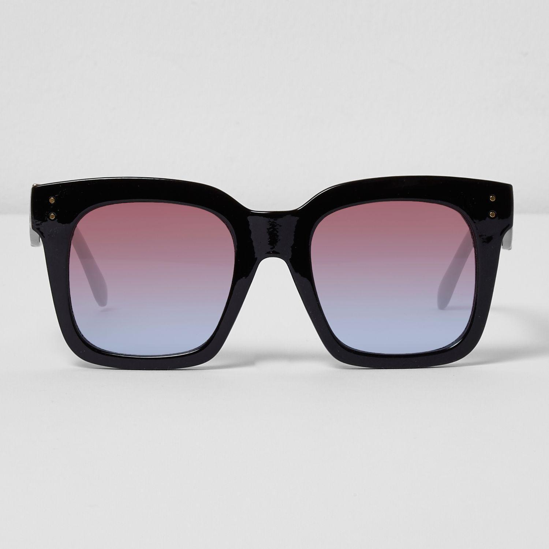 River island black oversized ocean lens sunglasses in black lyst - Ocean sunglasses ...