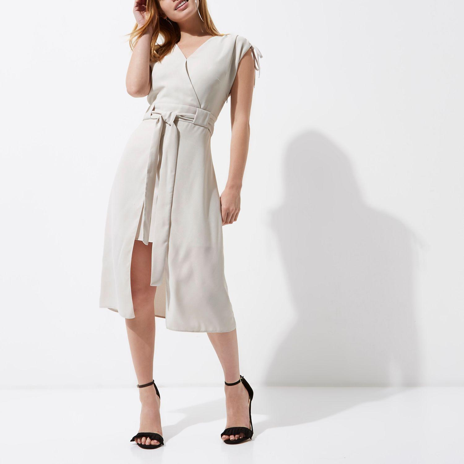 Tie Waist Midi Dress River Island