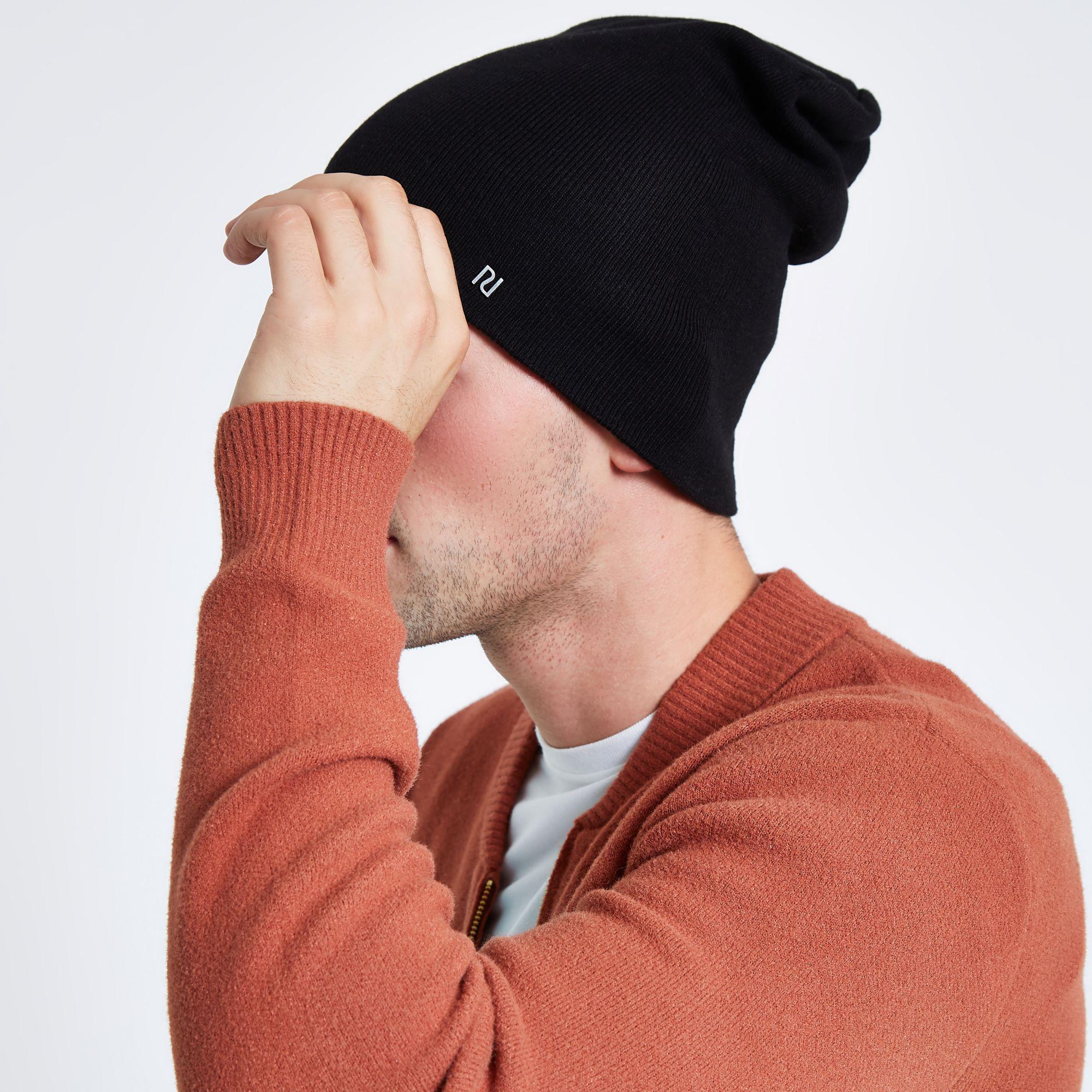 679a61a75f8 River Island - Black Slouch Beanie Ri Hat for Men - Lyst. View fullscreen