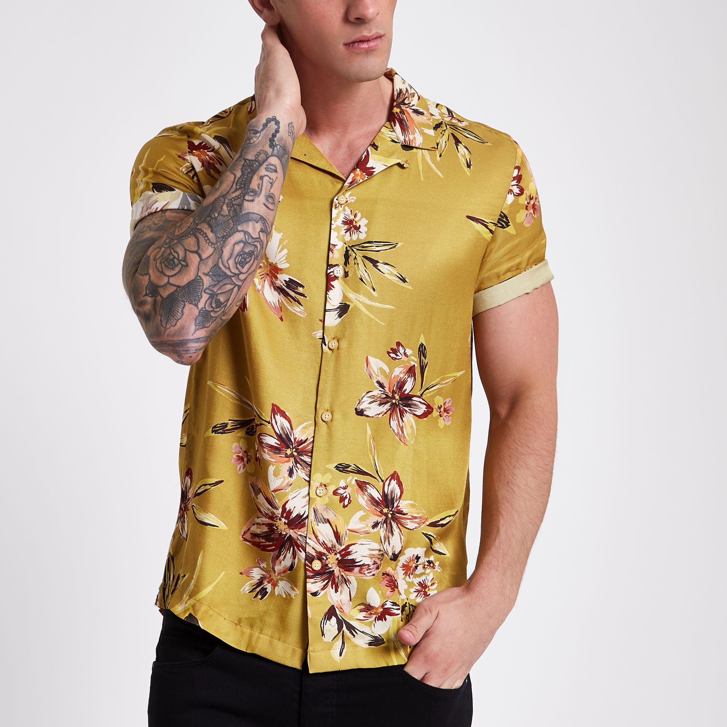 af289ee6ea515 Lyst - River Island Mustard Floral Short Sleeve Shirt in Yellow for Men