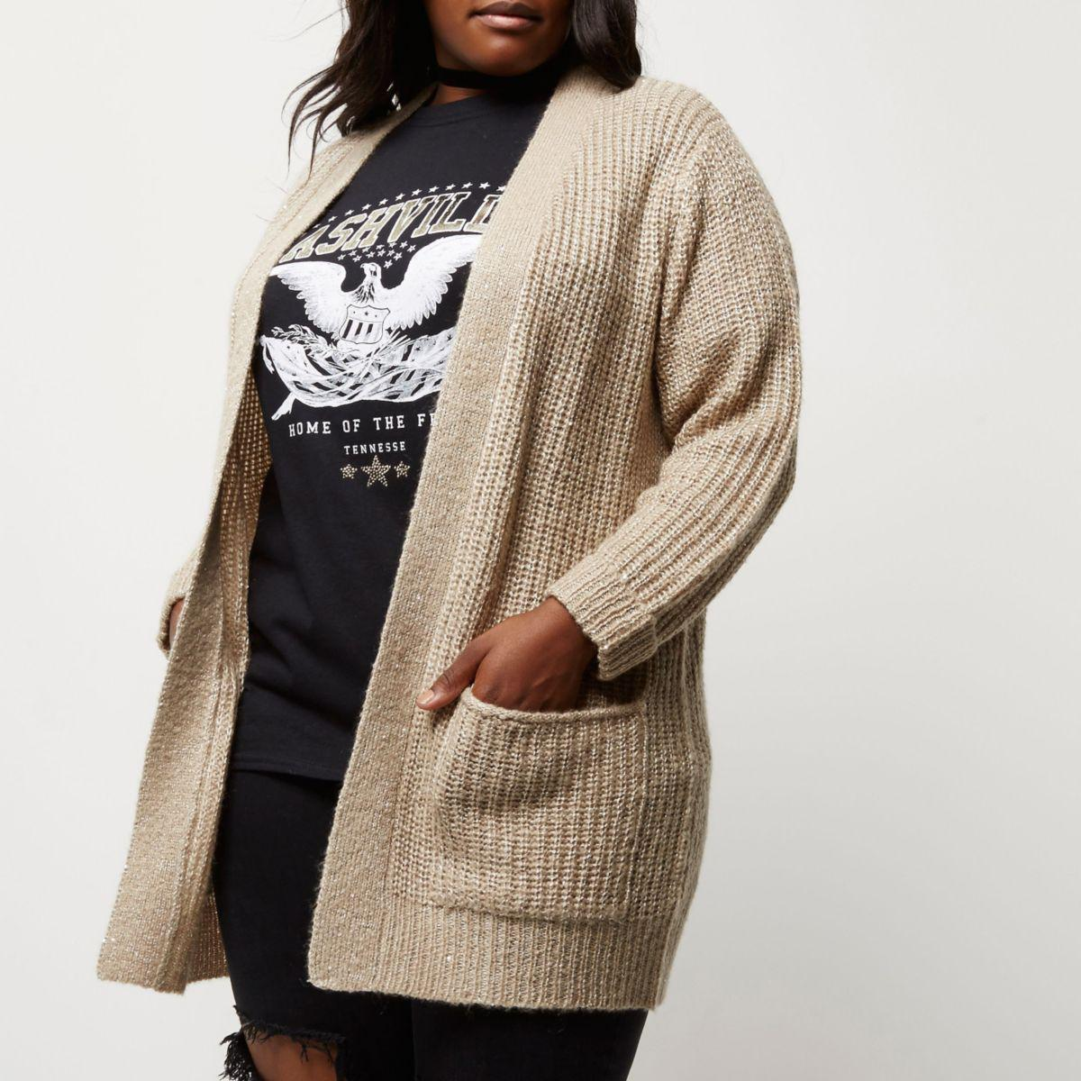 River island Plus Beige Knit Sequin Cardigan in Natural   Lyst
