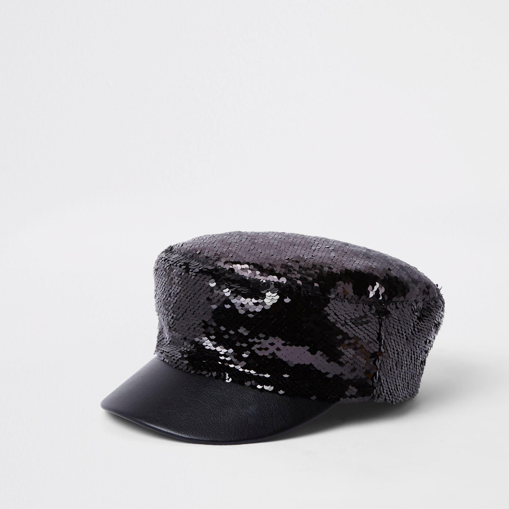 c51a479b8 River Island Sequin Baker Boy Hat in Black - Lyst